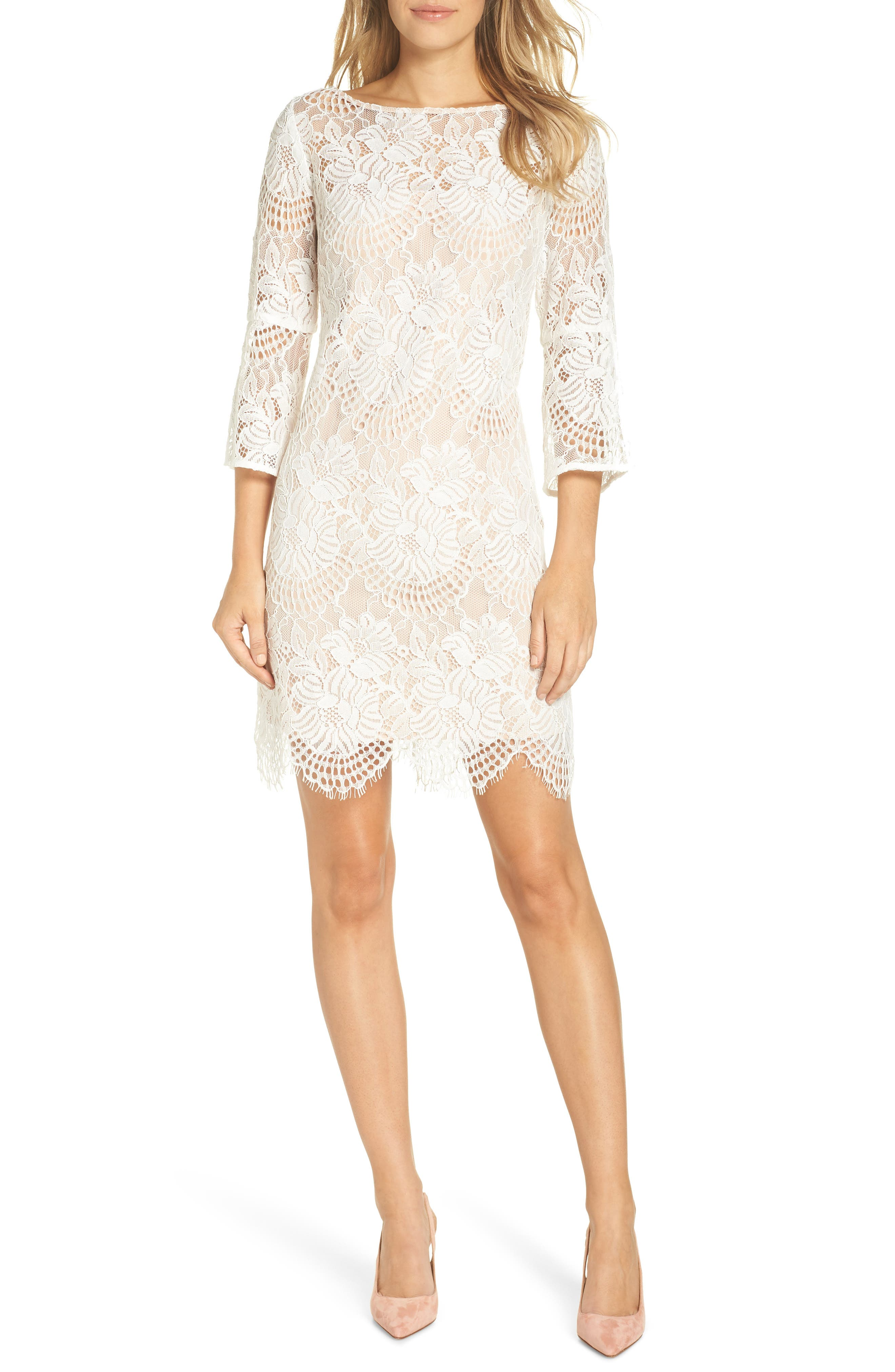 VINCE CAMUTO,                             Lace Shift Dress,                             Main thumbnail 1, color,                             IVORY