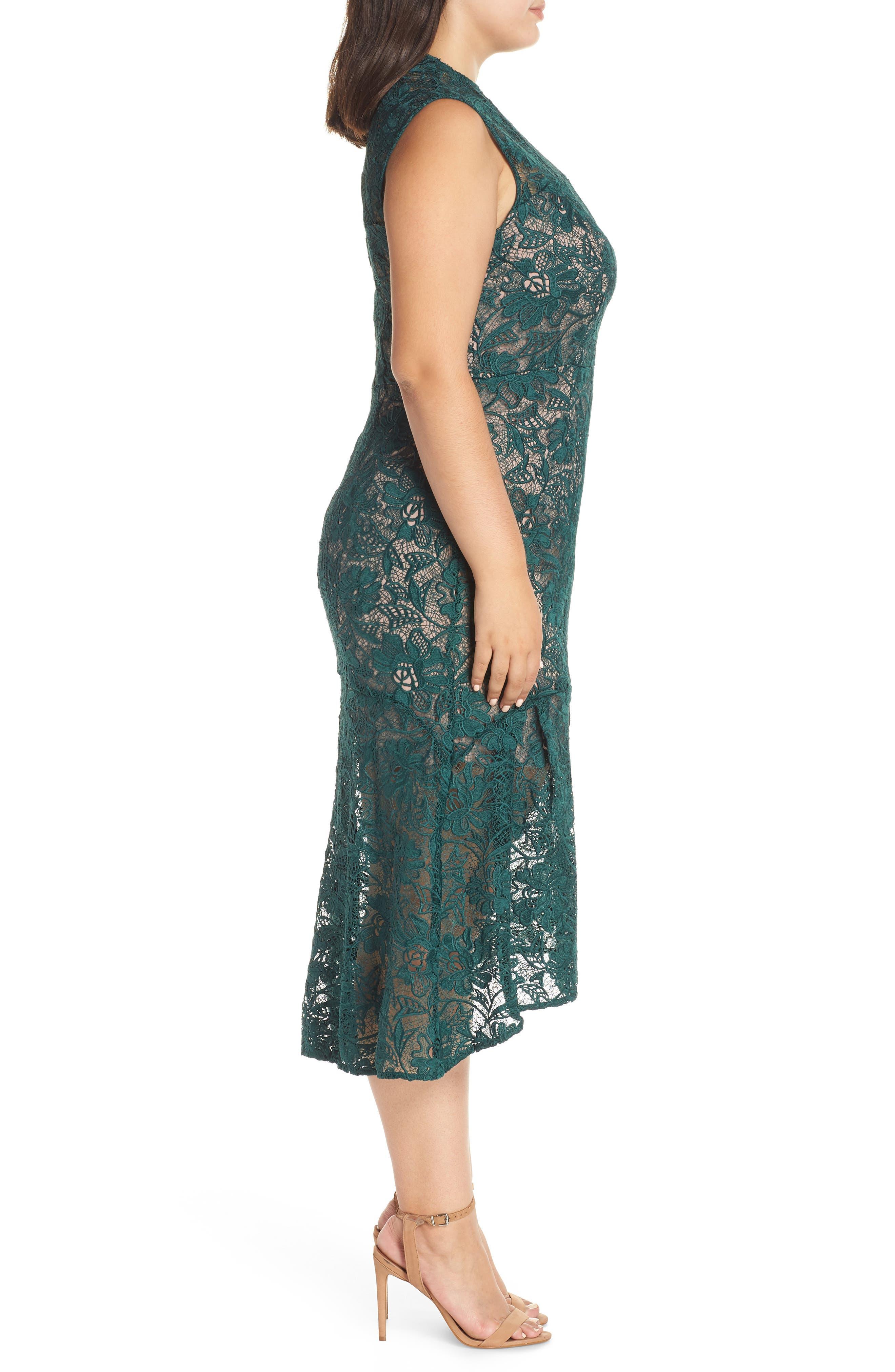 Lace Mock Neck Midi Dress,                             Alternate thumbnail 3, color,                             301