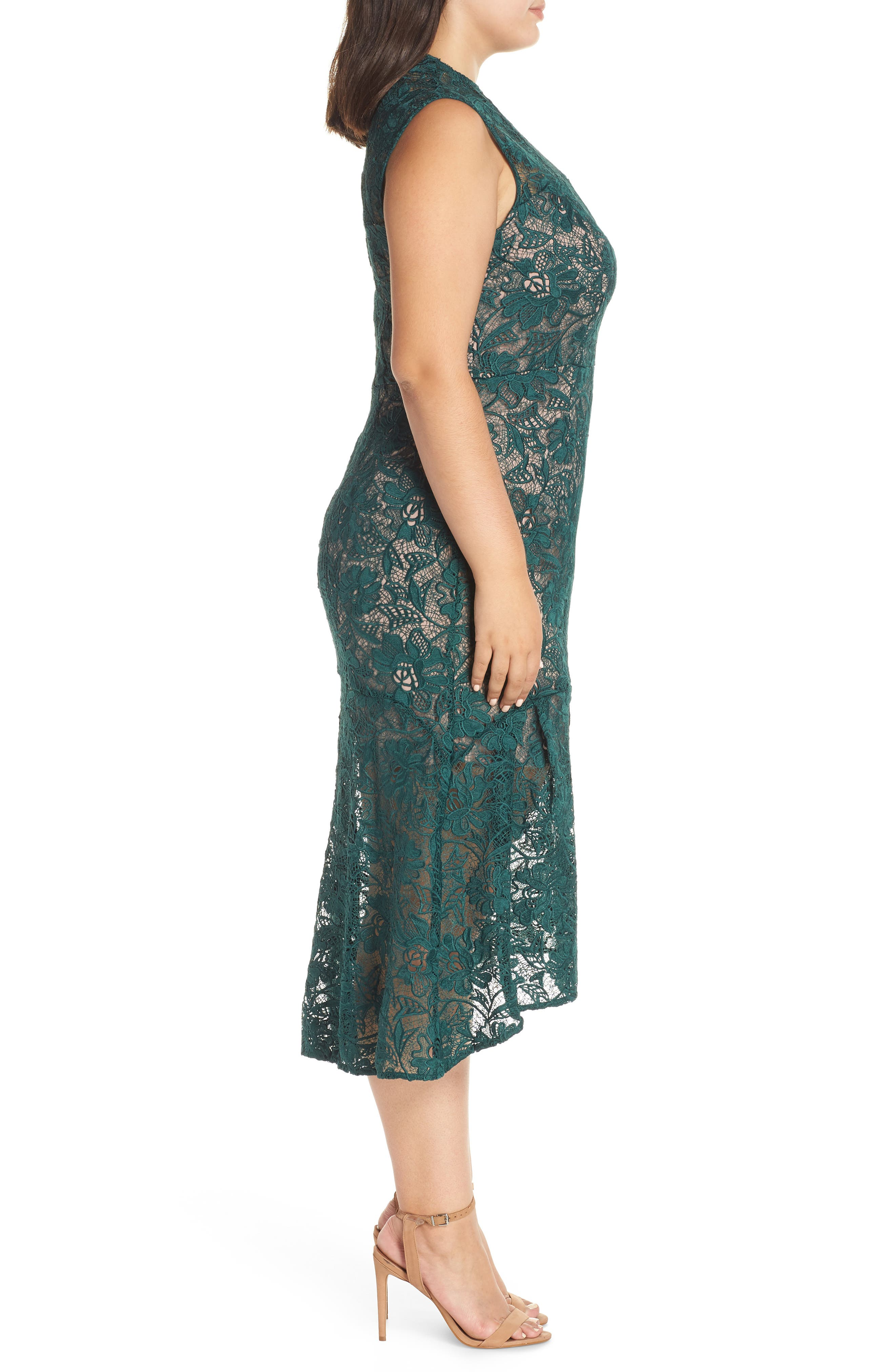 Chesea28 Lace Mock Neck Midi Dress,                             Alternate thumbnail 3, color,                             GREEN PARK