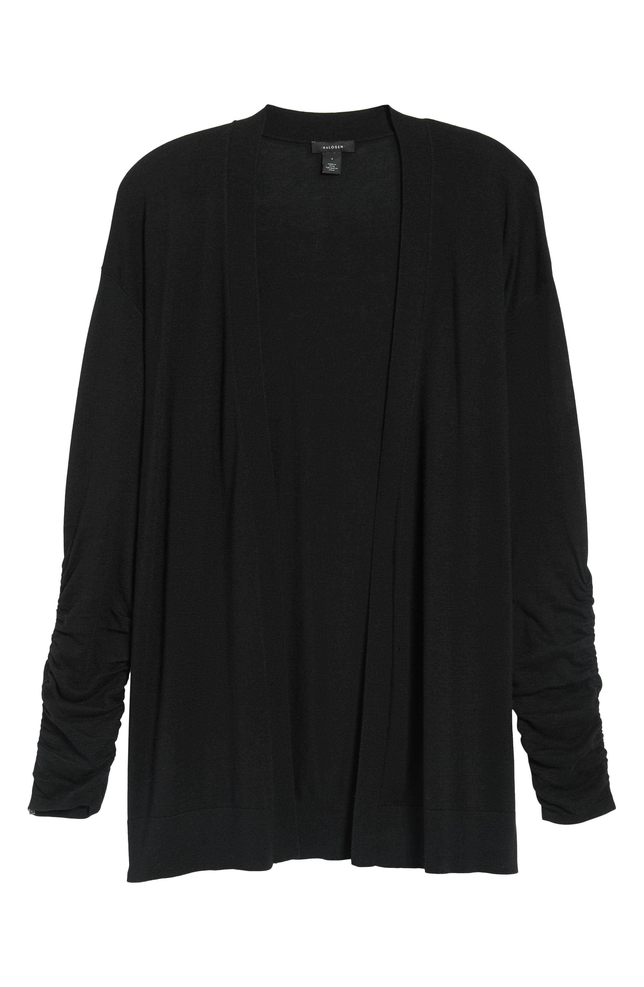 Ruched Sleeve Cardigan,                             Alternate thumbnail 7, color,                             001