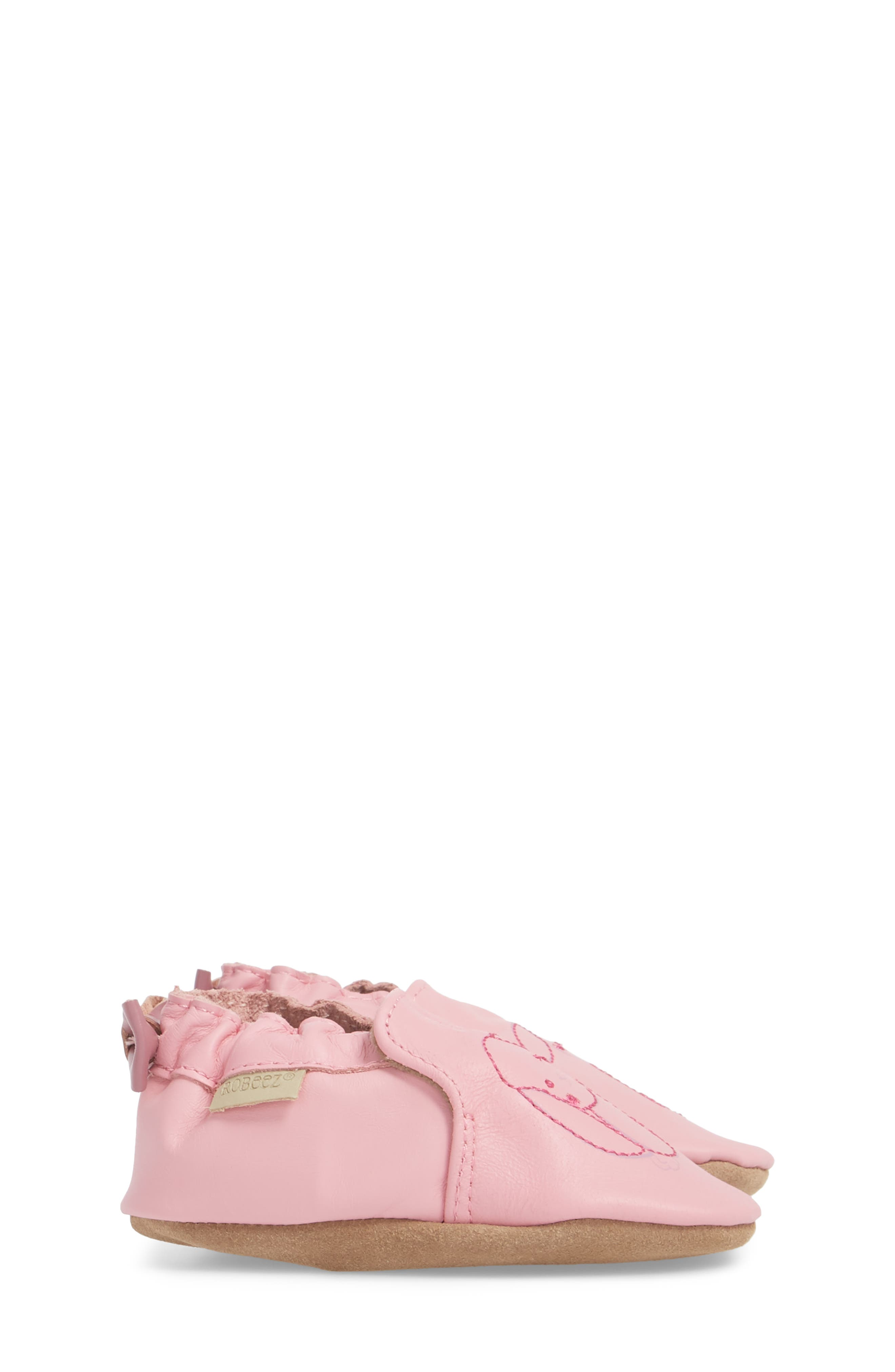 Sweet Bunny Moccasin Crib Shoe,                             Alternate thumbnail 3, color,                             PASTEL PINK