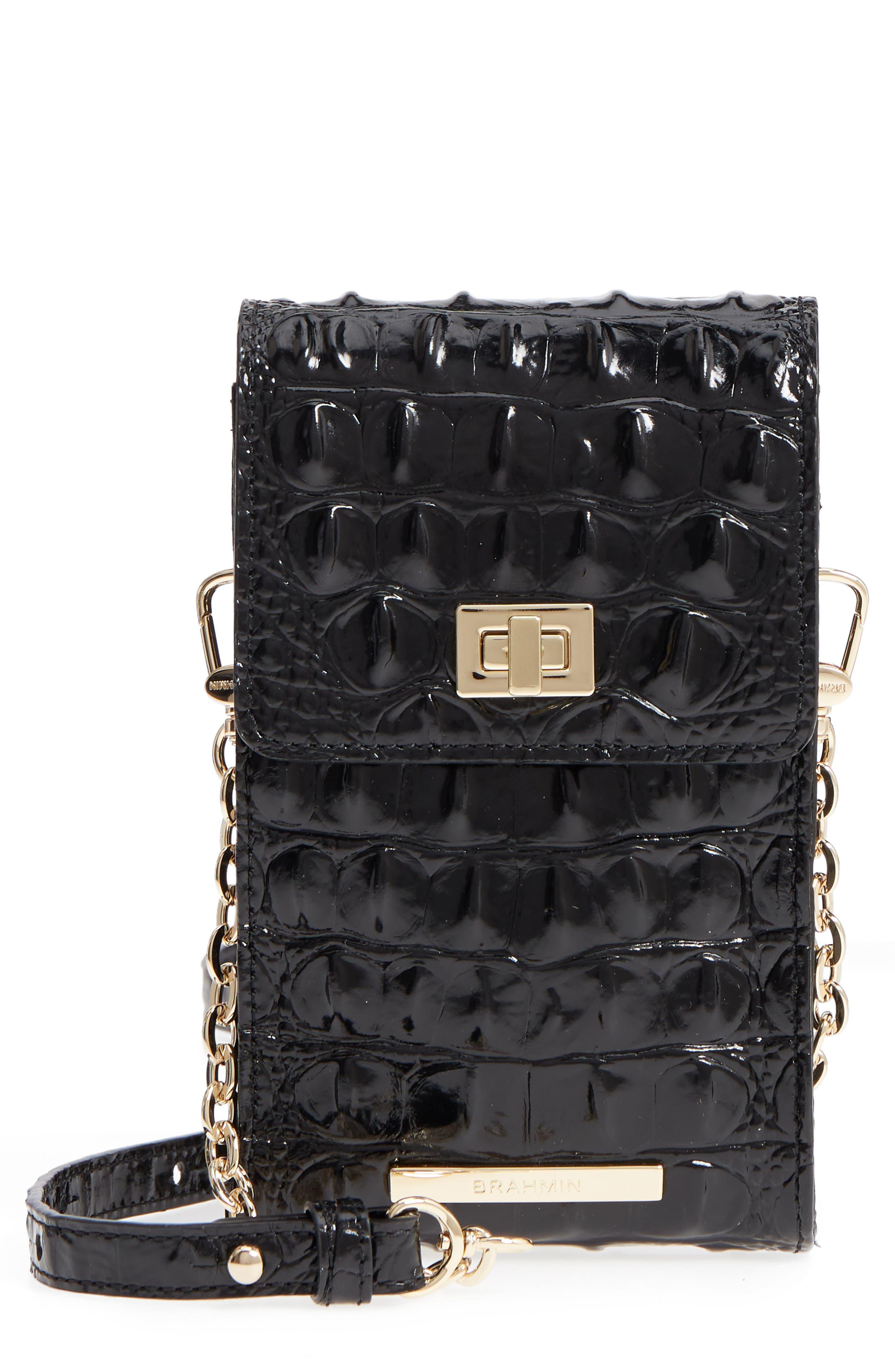 Madison Leather Smartphone Crossbody Bag,                         Main,                         color, BLACK