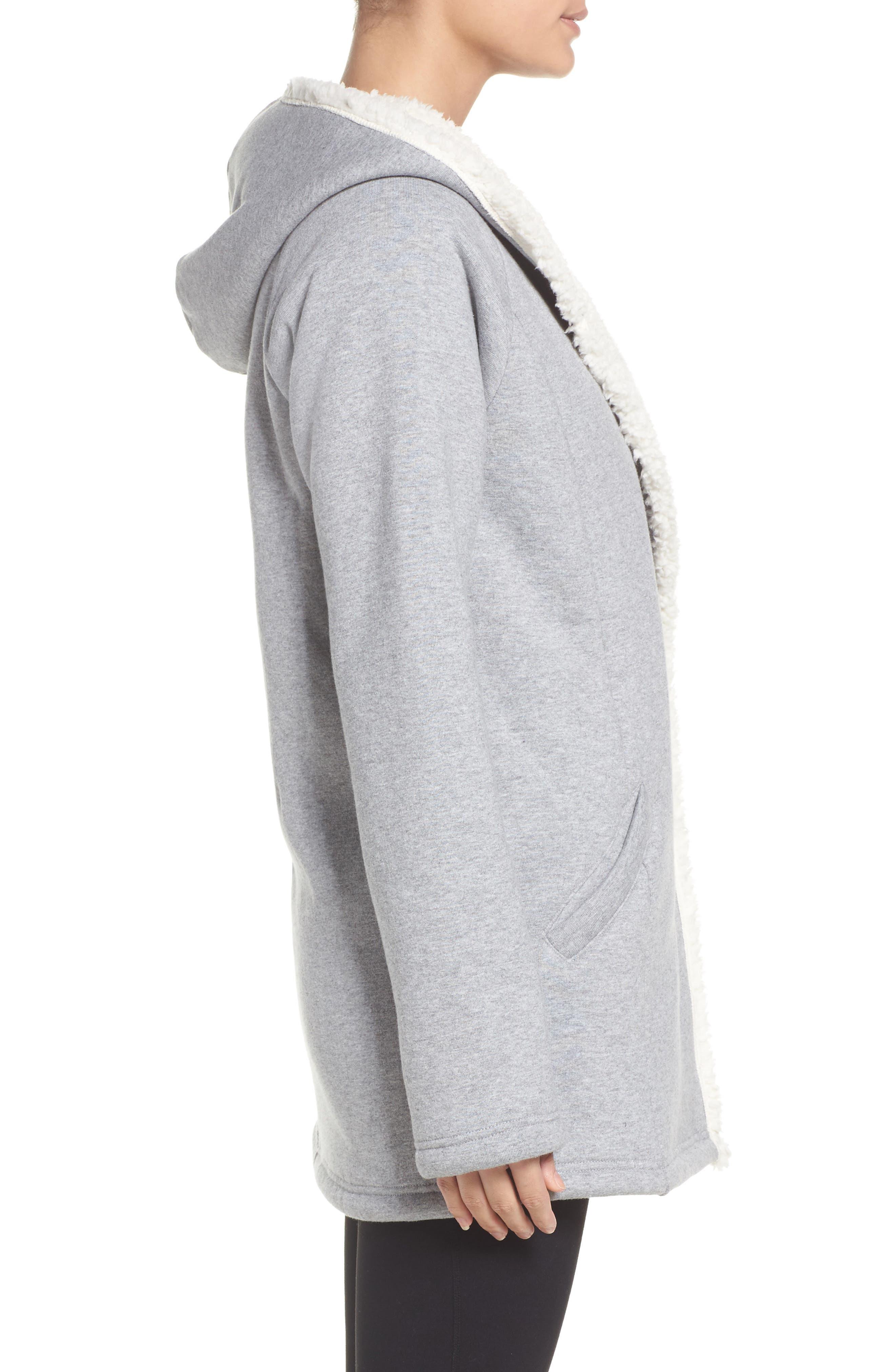Chalet Fleece Lined Hooded Wrap,                             Alternate thumbnail 3, color,                             030