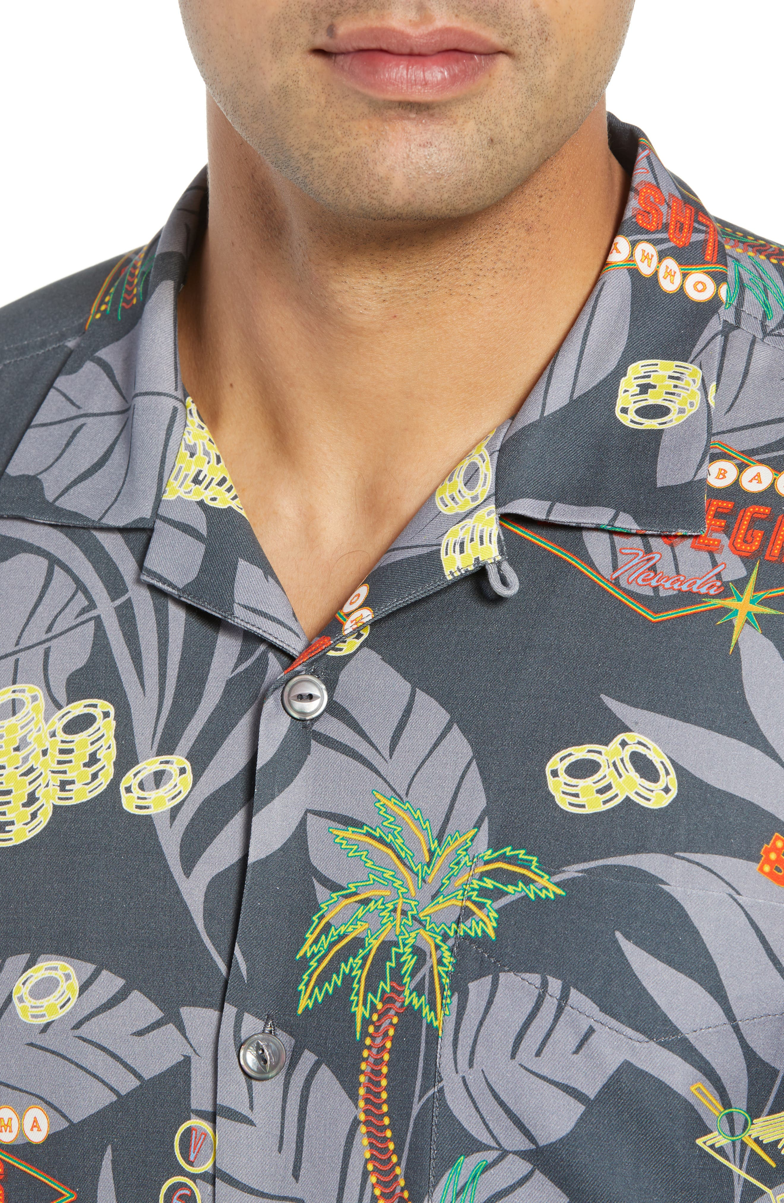 TOMMY BAHAMA,                             Poker in Paradise Silk Camp Shirt,                             Alternate thumbnail 4, color,                             001