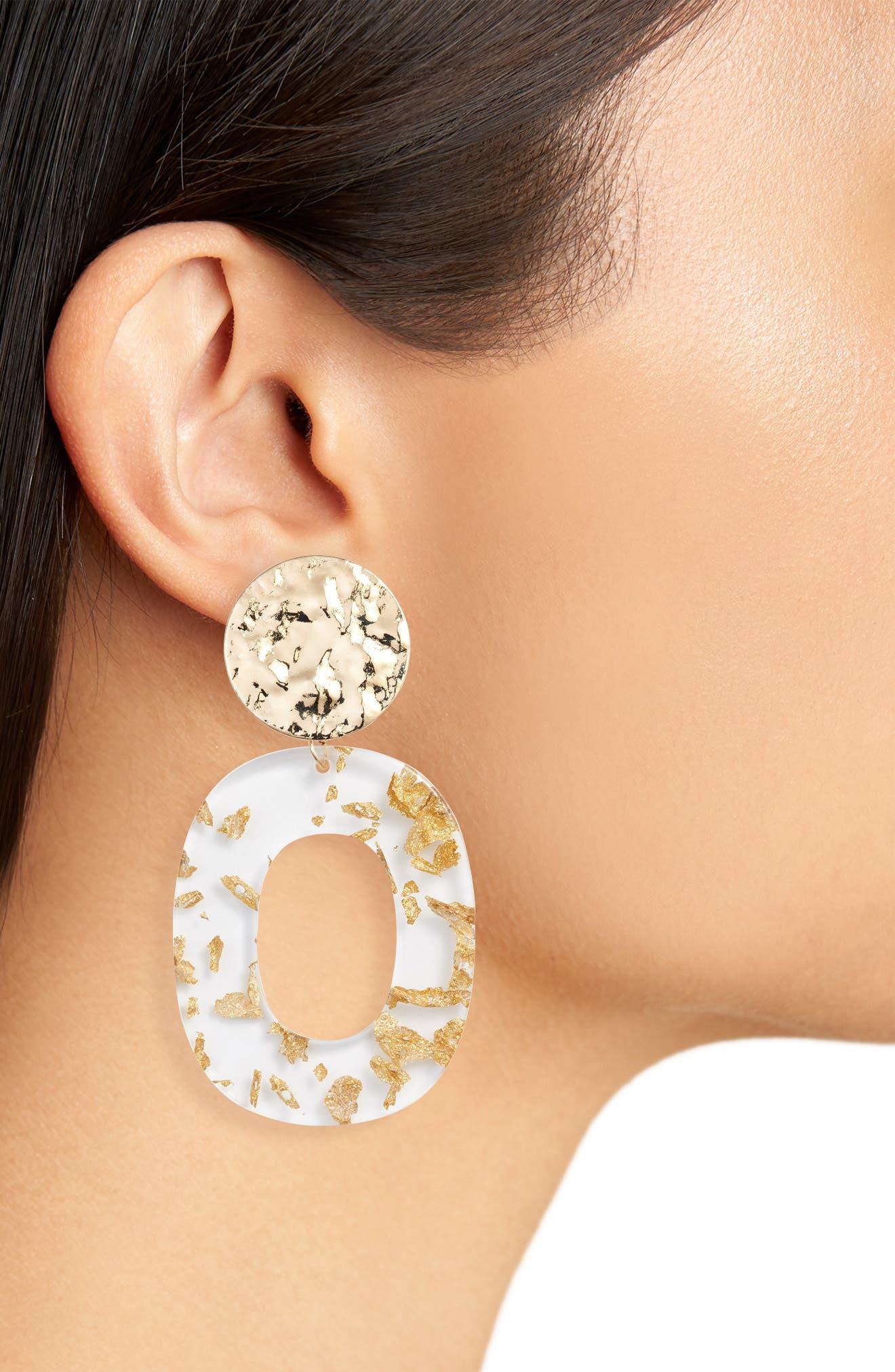Deco Acrylic Drop Hoop Earrings,                             Alternate thumbnail 2, color,                             GOLD