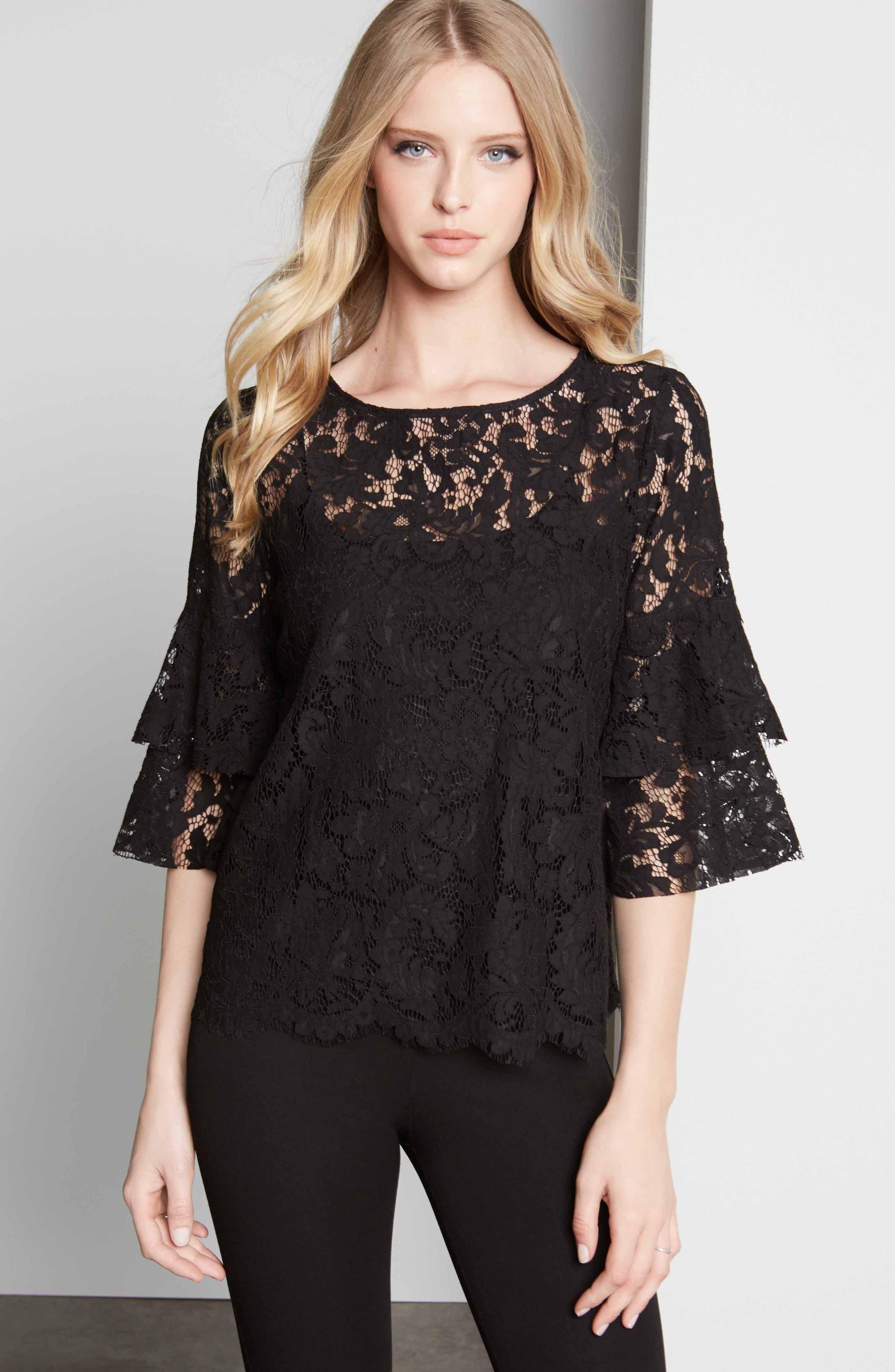 Lace Ruffle Sleeve Top,                             Alternate thumbnail 3, color,                             BLACK