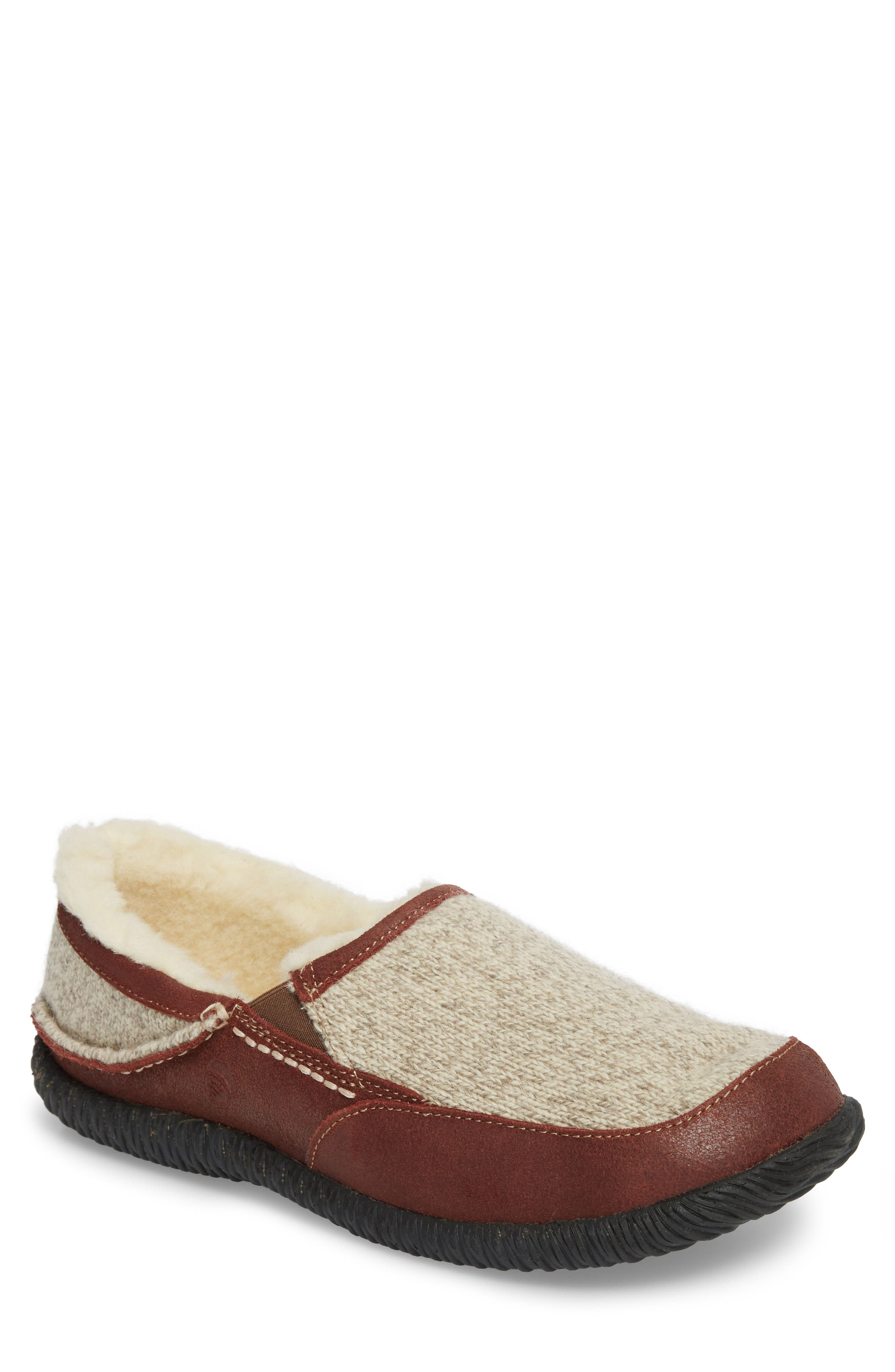 'Rambler' Moc Toe Slipper,                             Main thumbnail 1, color,                             GREY RAGG WOOL