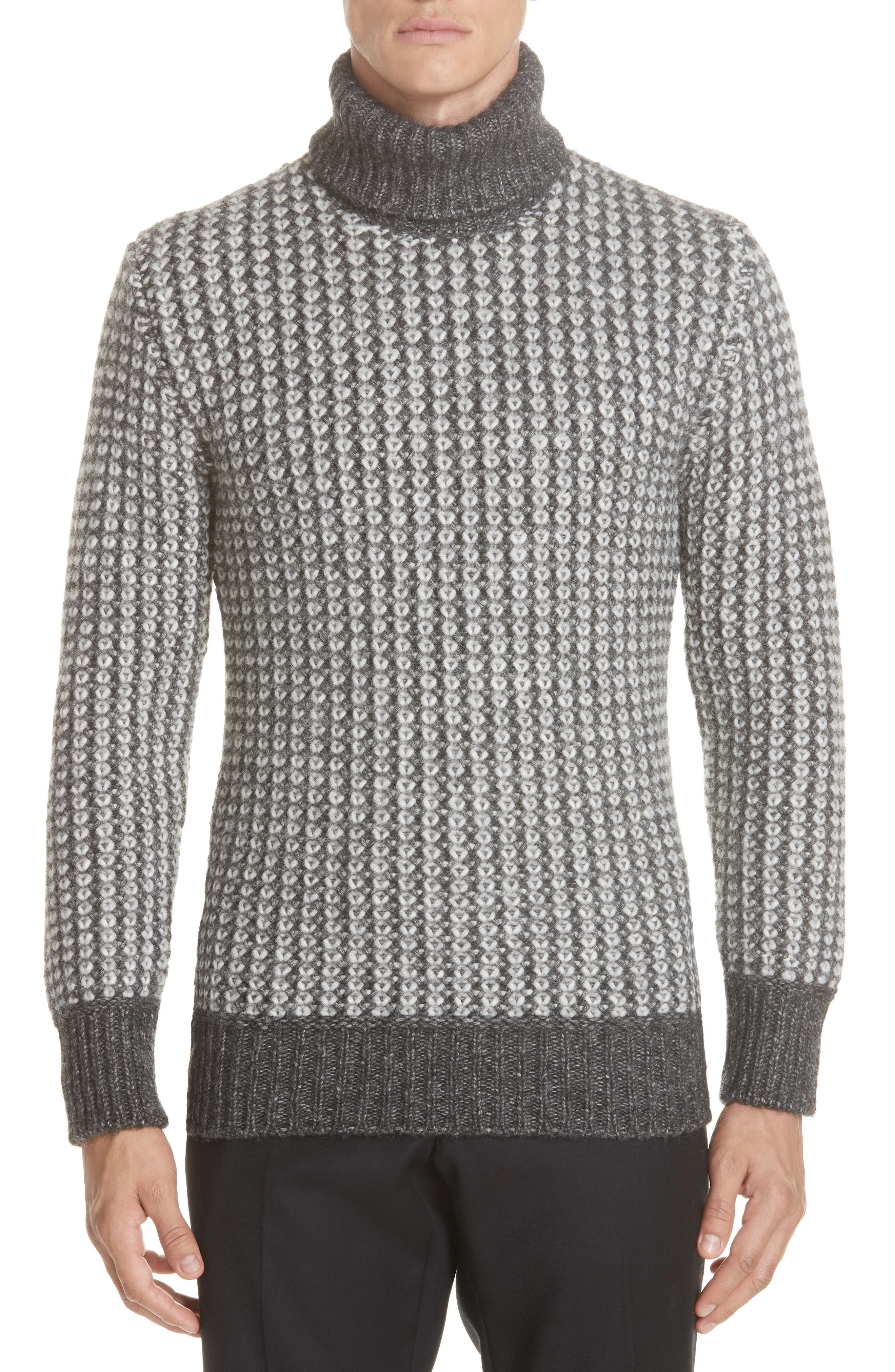 Cotton Blend Turtleneck Sweater,                             Main thumbnail 1, color,                             GREY