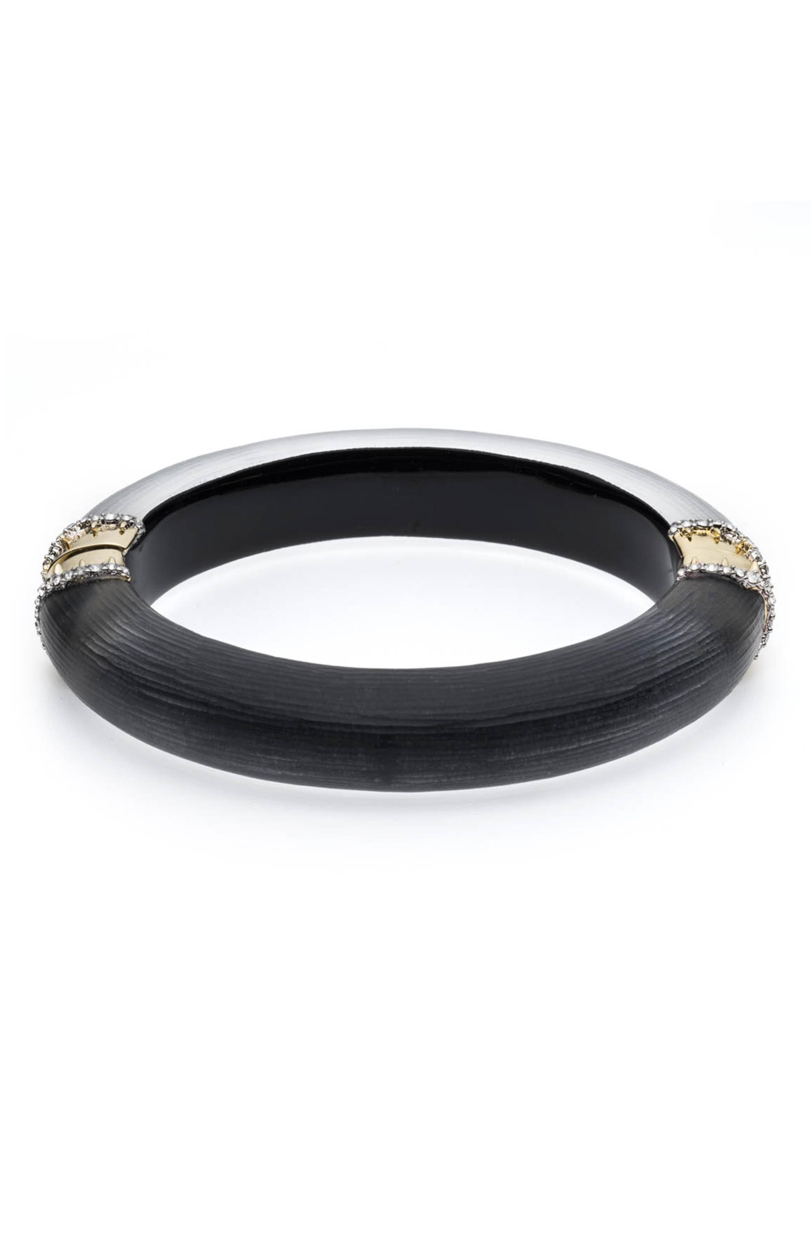 ALEXIS BITTAR Alex Bittar Lucite Pave Edge Hinge Bracelet in Black