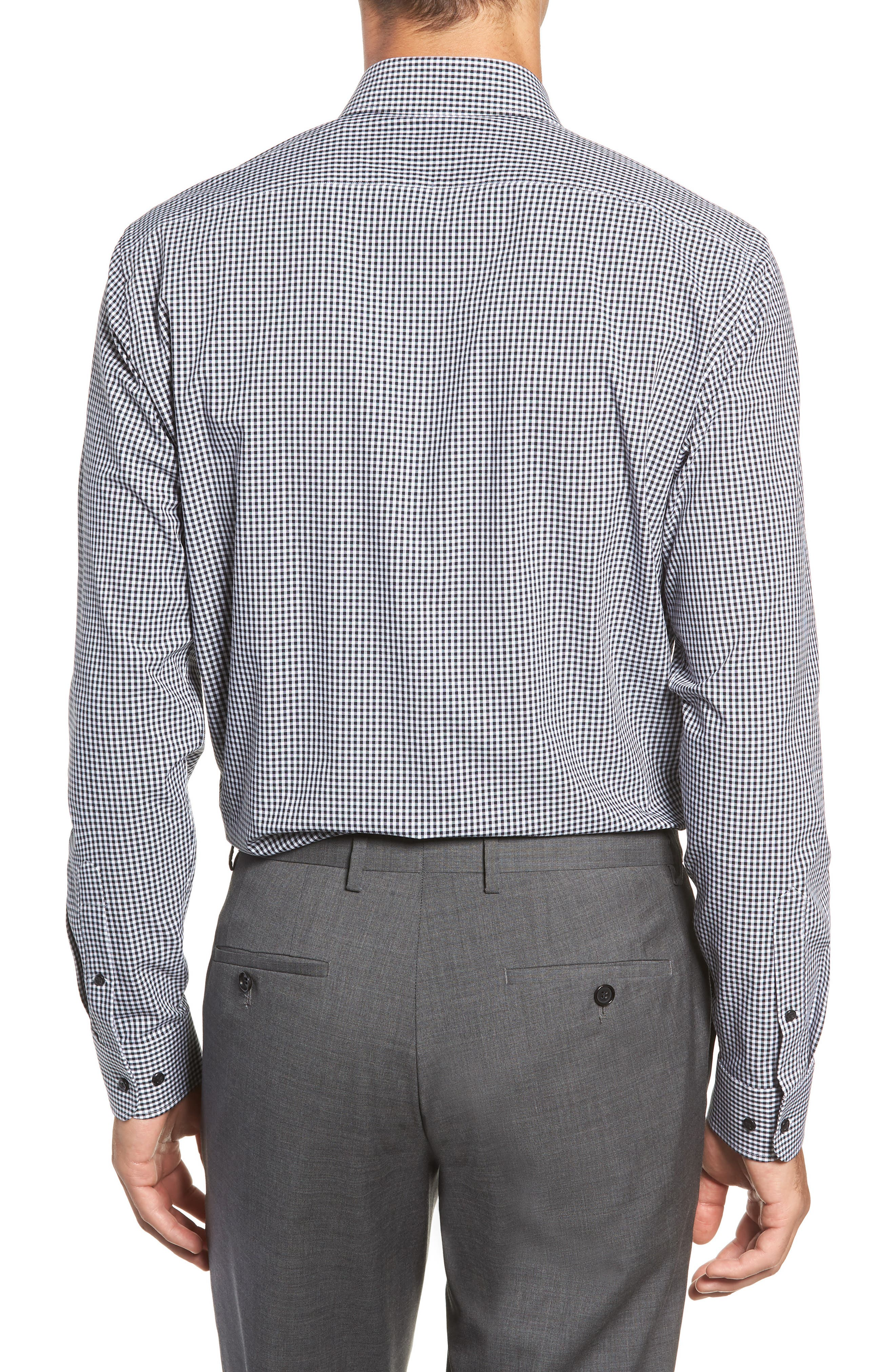 Tech-Smart Trim Fit Stretch Check Dress Shirt,                             Alternate thumbnail 3, color,                             BLACK ROCK