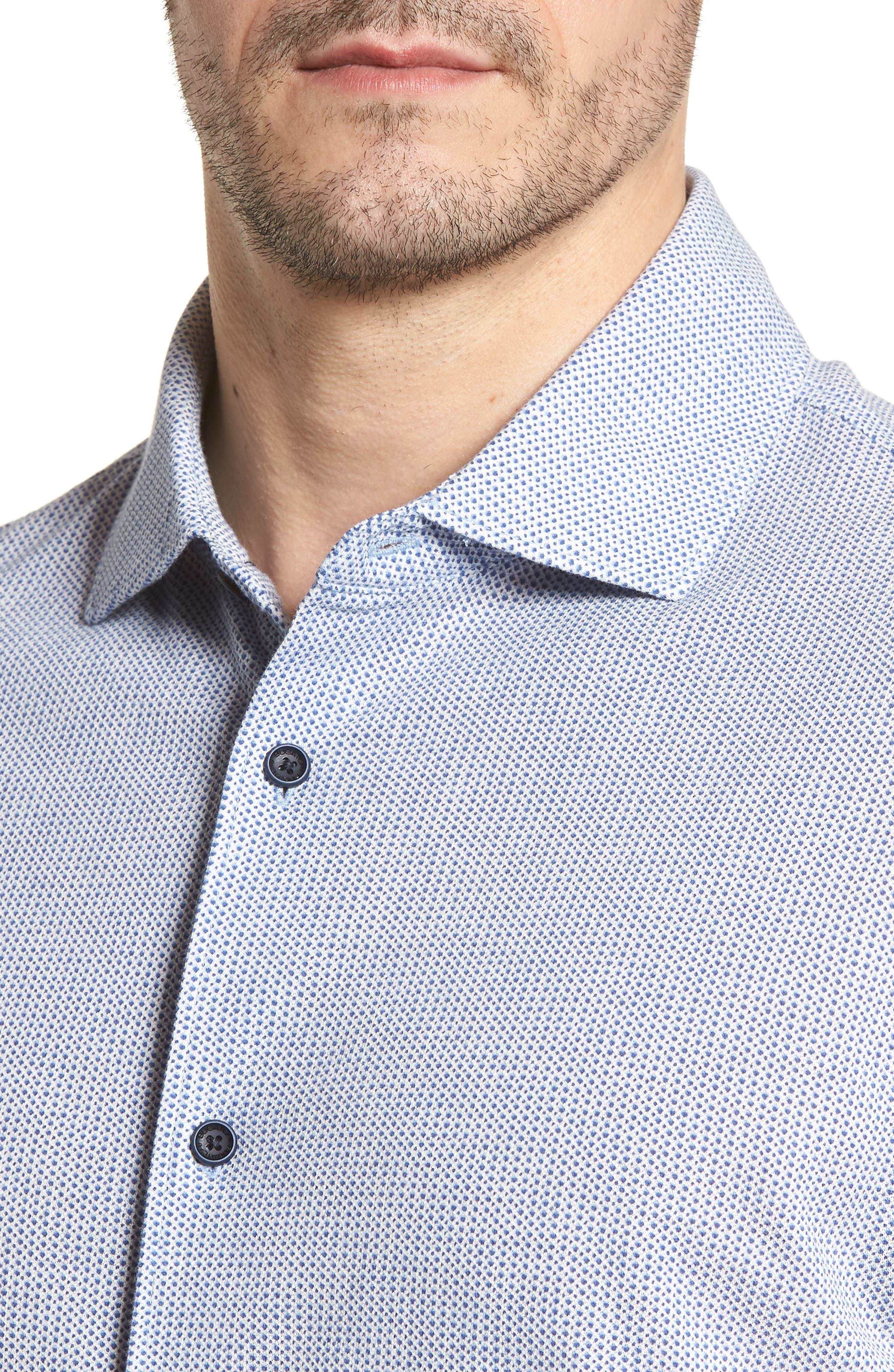 BUGATCHI,                             Shaped Fit Microprint Sport Shirt,                             Alternate thumbnail 4, color,                             CLASSIC BLUE