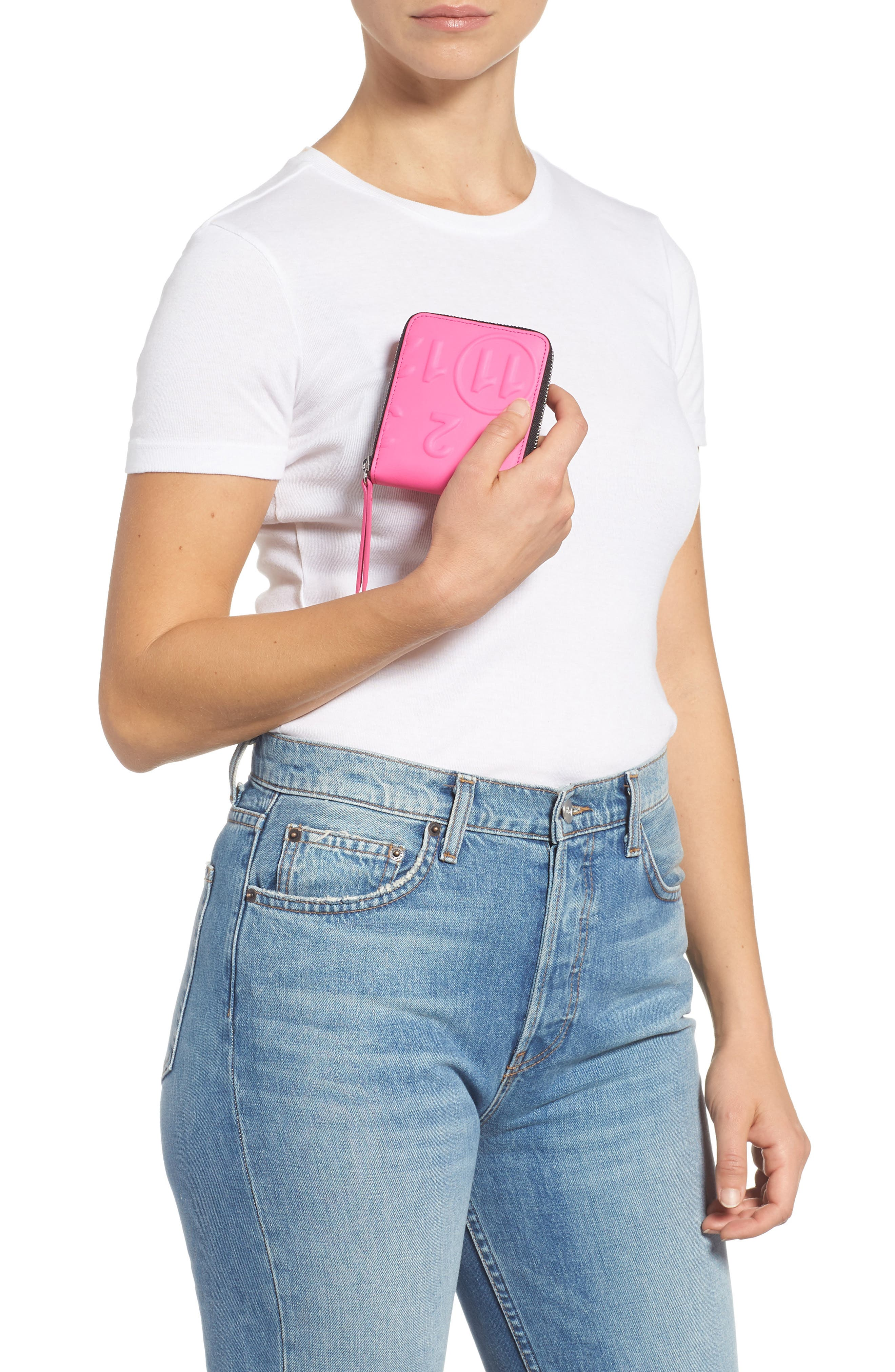 Faux Leather French Wallet,                             Alternate thumbnail 3, color,                             PINK