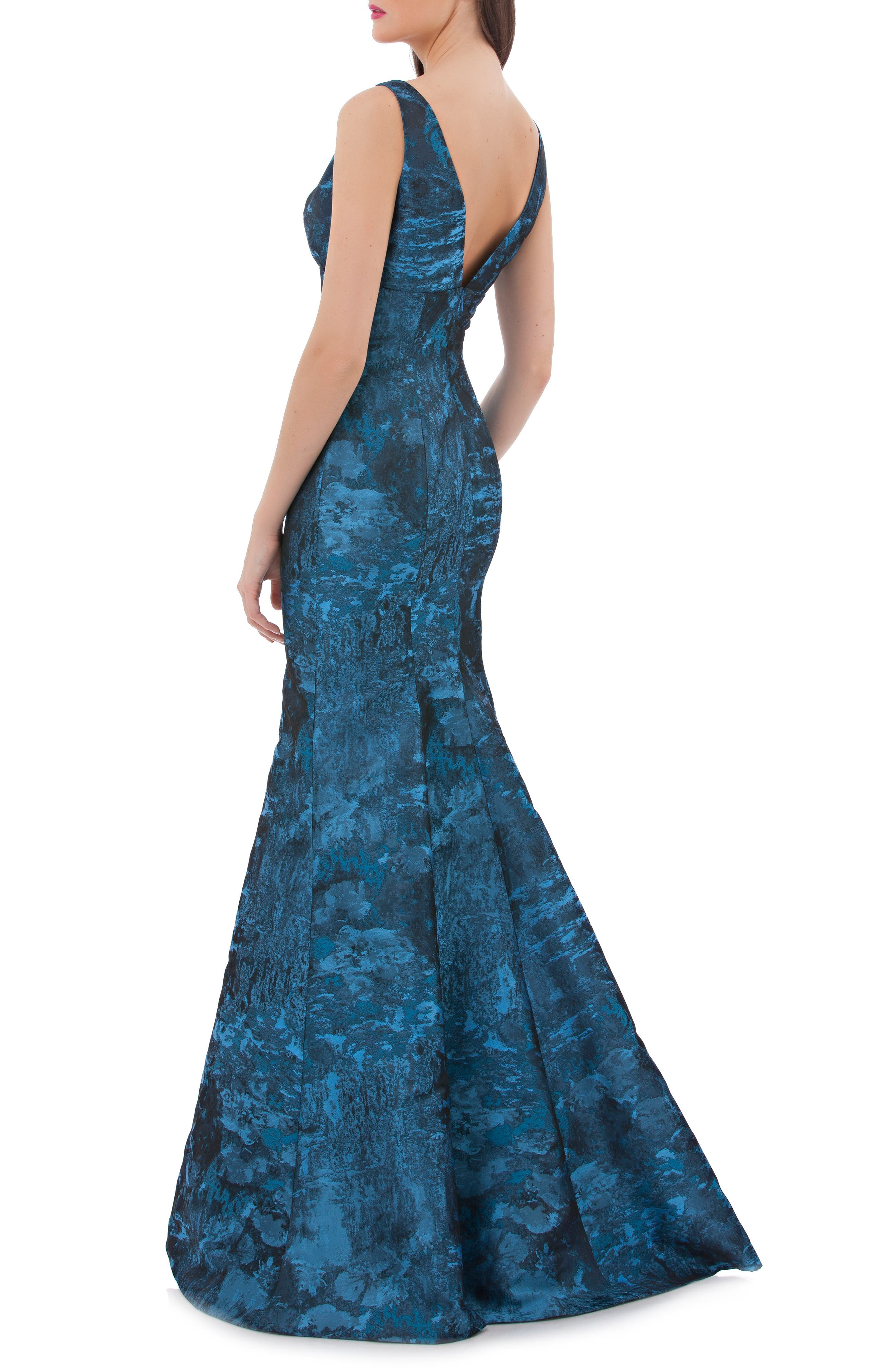 Plunging Brocade Mermaid Dress,                             Alternate thumbnail 2, color,                             403