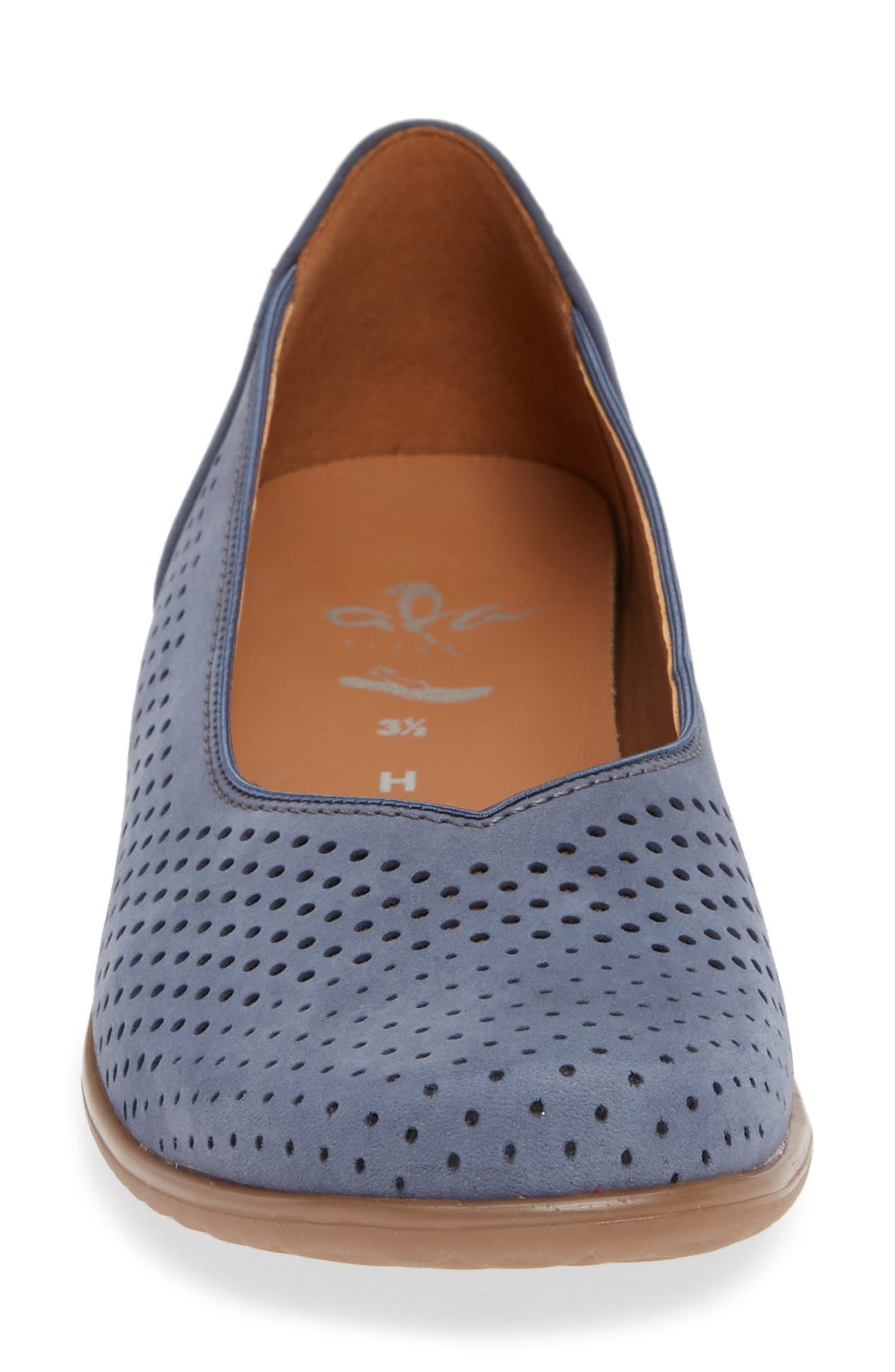 ARA,                             Avril Perforated Flat,                             Alternate thumbnail 4, color,                             JEANS NUBUCK LEATHER