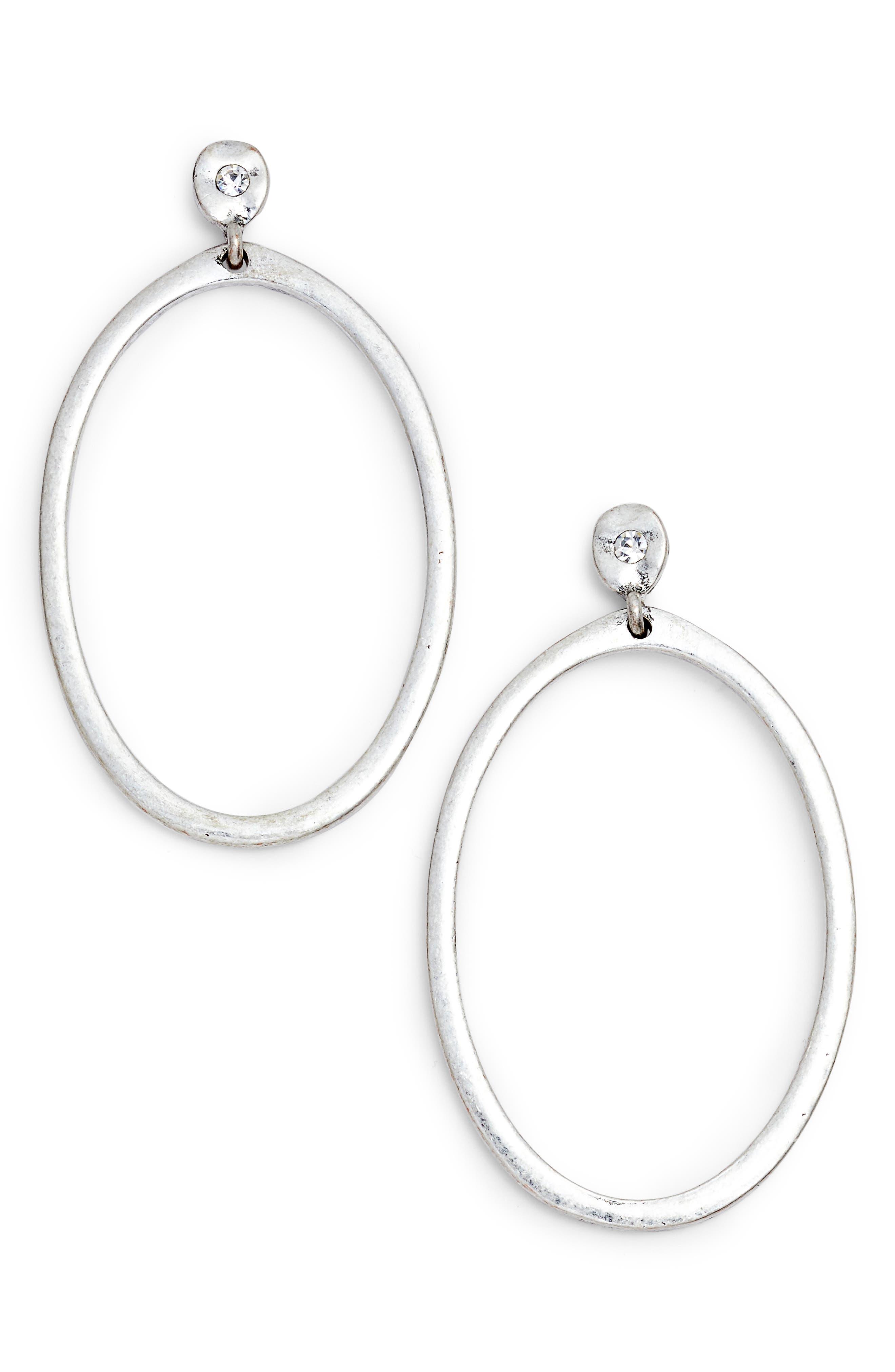 Organic Oval Hoop Earrings,                             Main thumbnail 1, color,