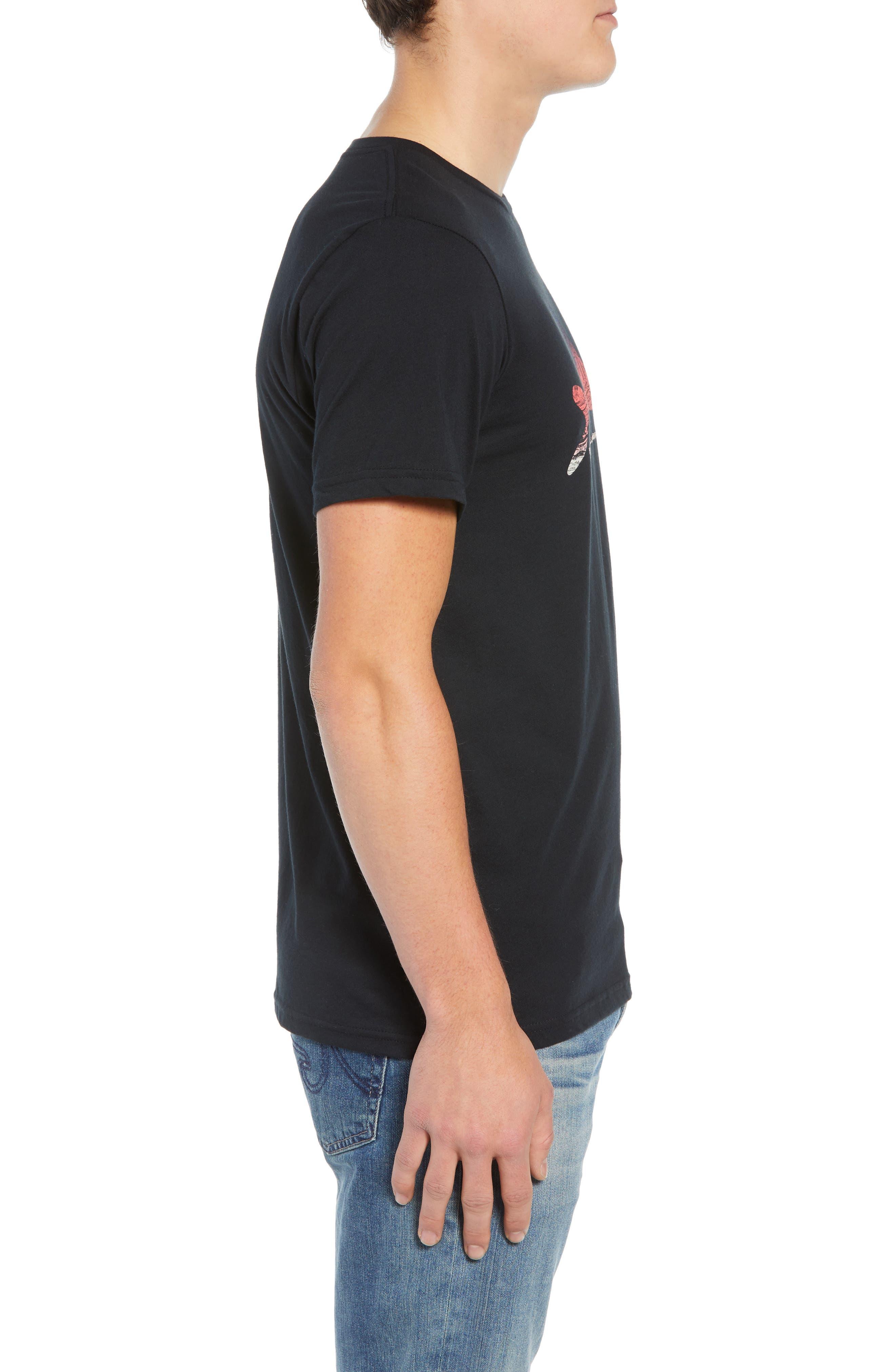 Flying Fish Organic Cotton T-Shirt,                             Alternate thumbnail 3, color,                             BLACK/ ALBANIAN LANDSCAPE
