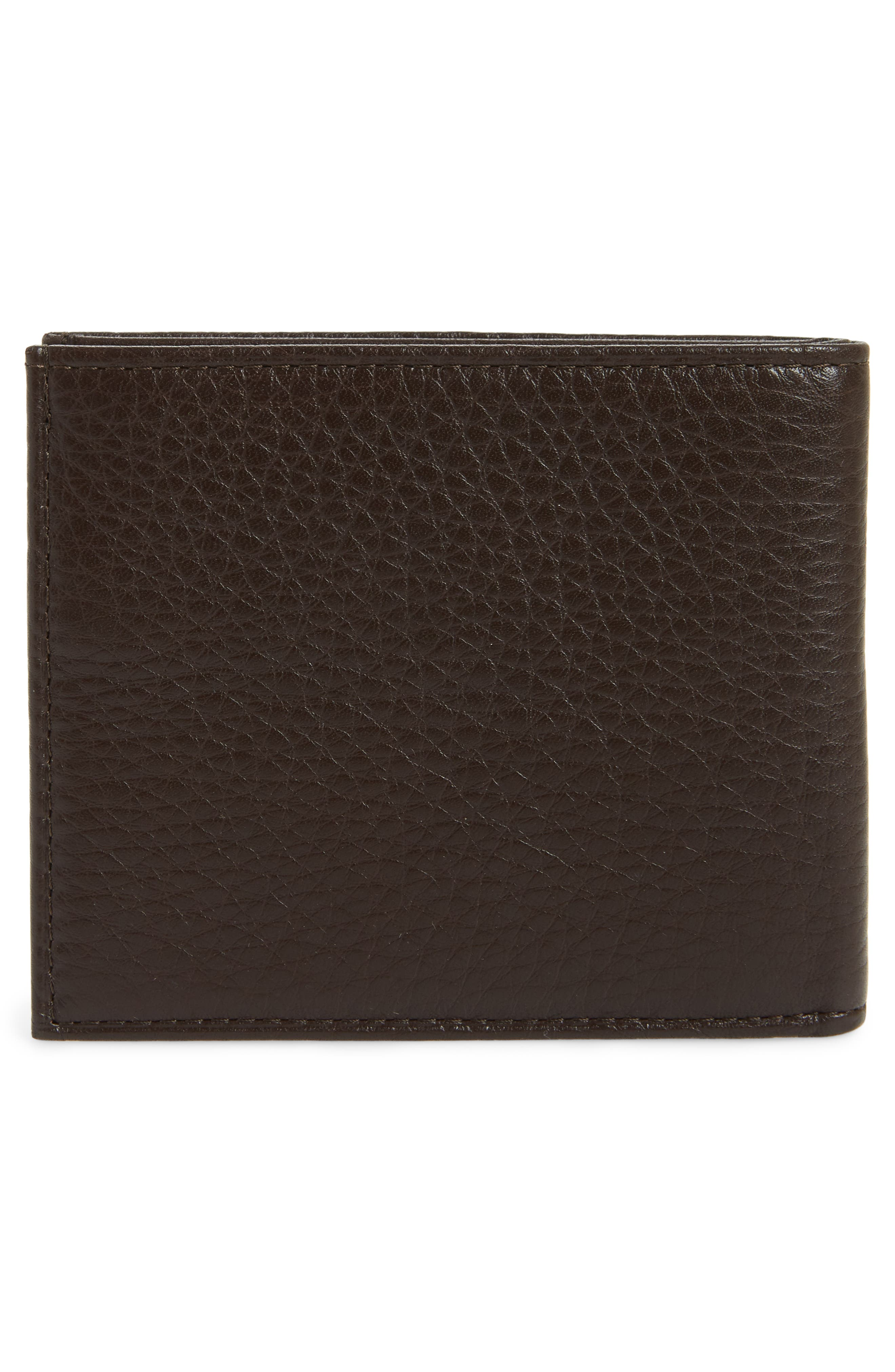 Bifold Leather Wallet,                             Alternate thumbnail 3, color,                             BROWN