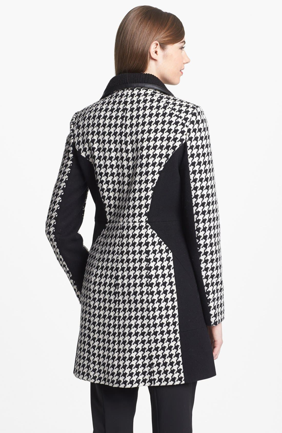 Colorblock Houndstooth Coat,                             Alternate thumbnail 3, color,                             001