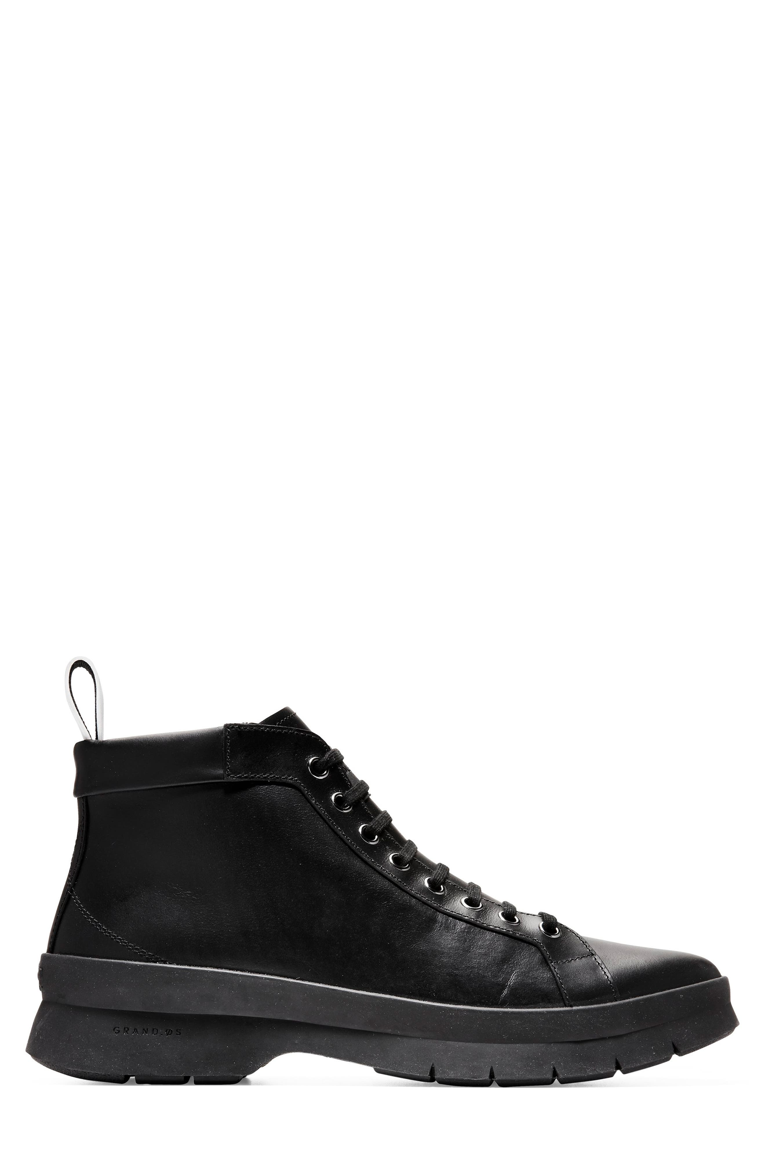 Pinch Utility Waterproof Boot,                             Alternate thumbnail 3, color,                             BLACK LEATHER