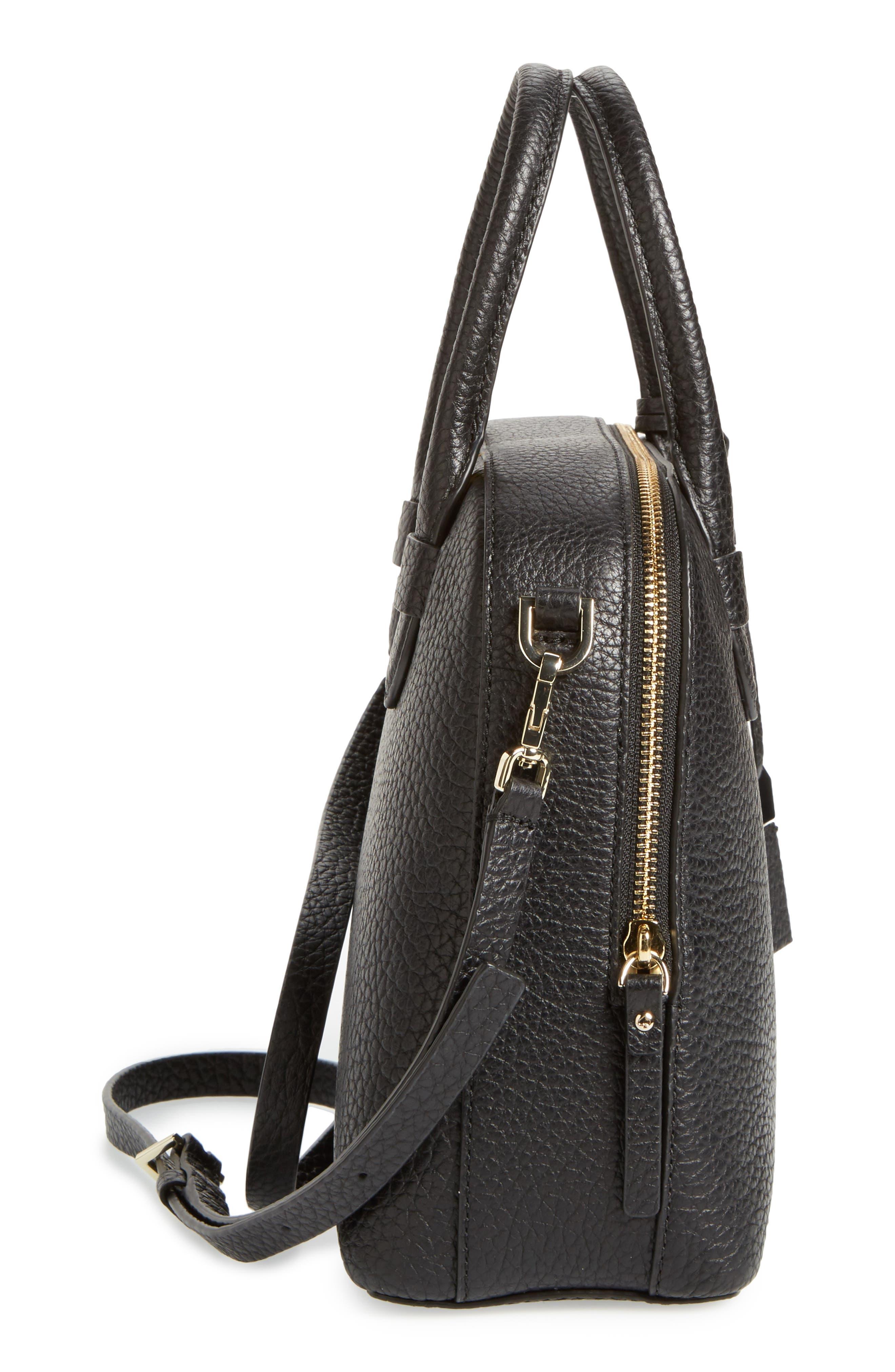 carter street - small ashleigh leather satchel,                             Alternate thumbnail 5, color,                             001