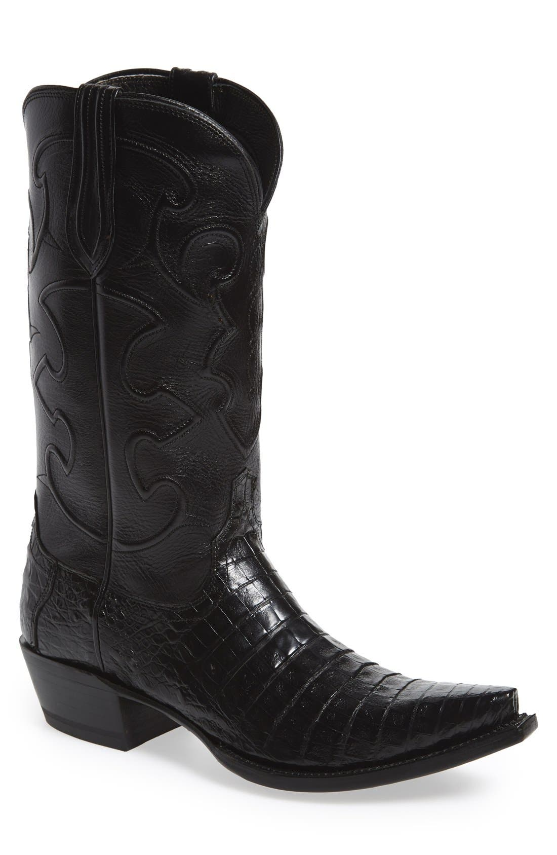 LUCCHESE 'Charles' Calfskin & Genuine Crocodile Leather Snip Toe Western Boot, Main, color, 002