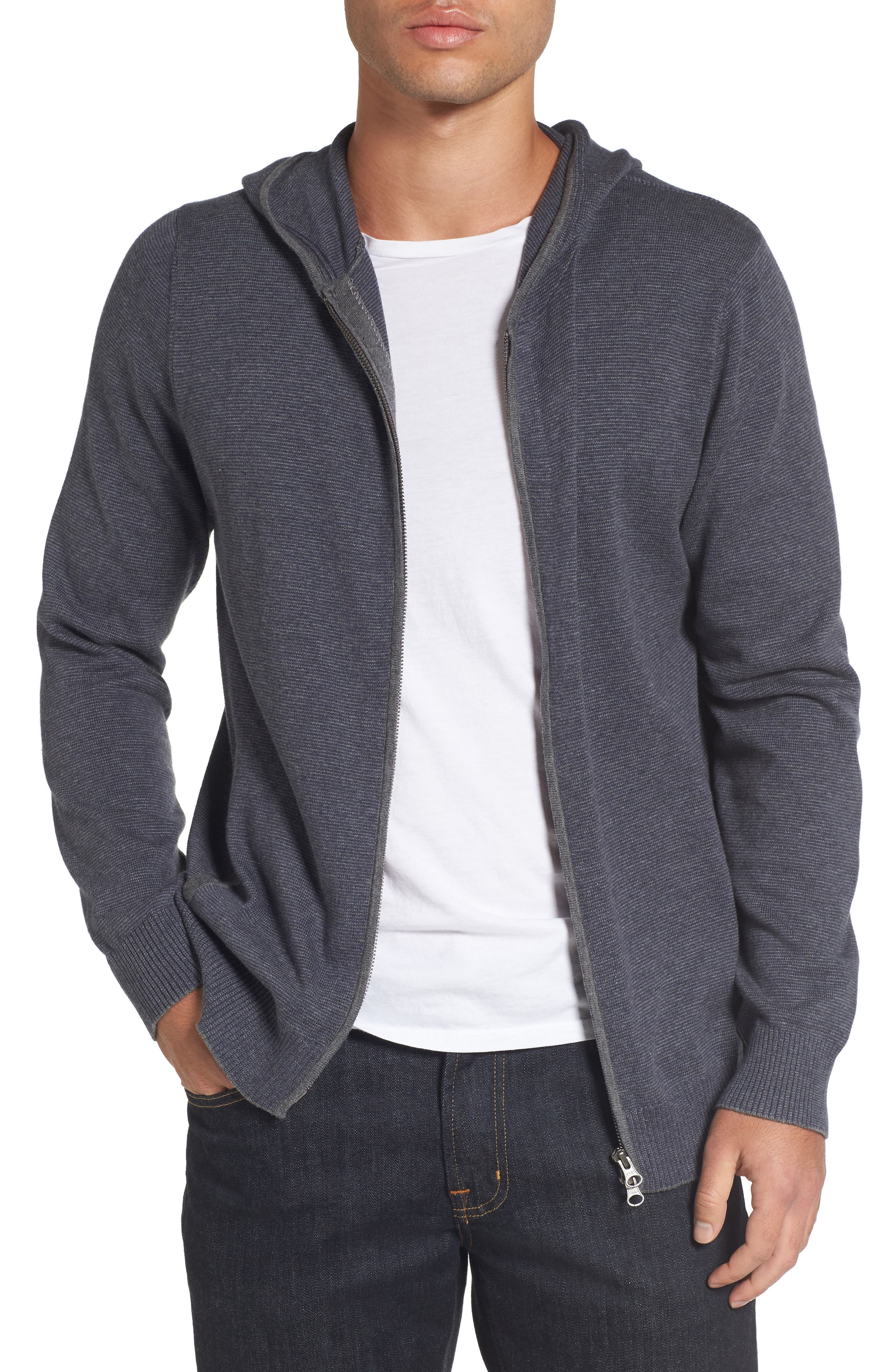 Zip Front Hooded Sweater,                             Main thumbnail 2, color,