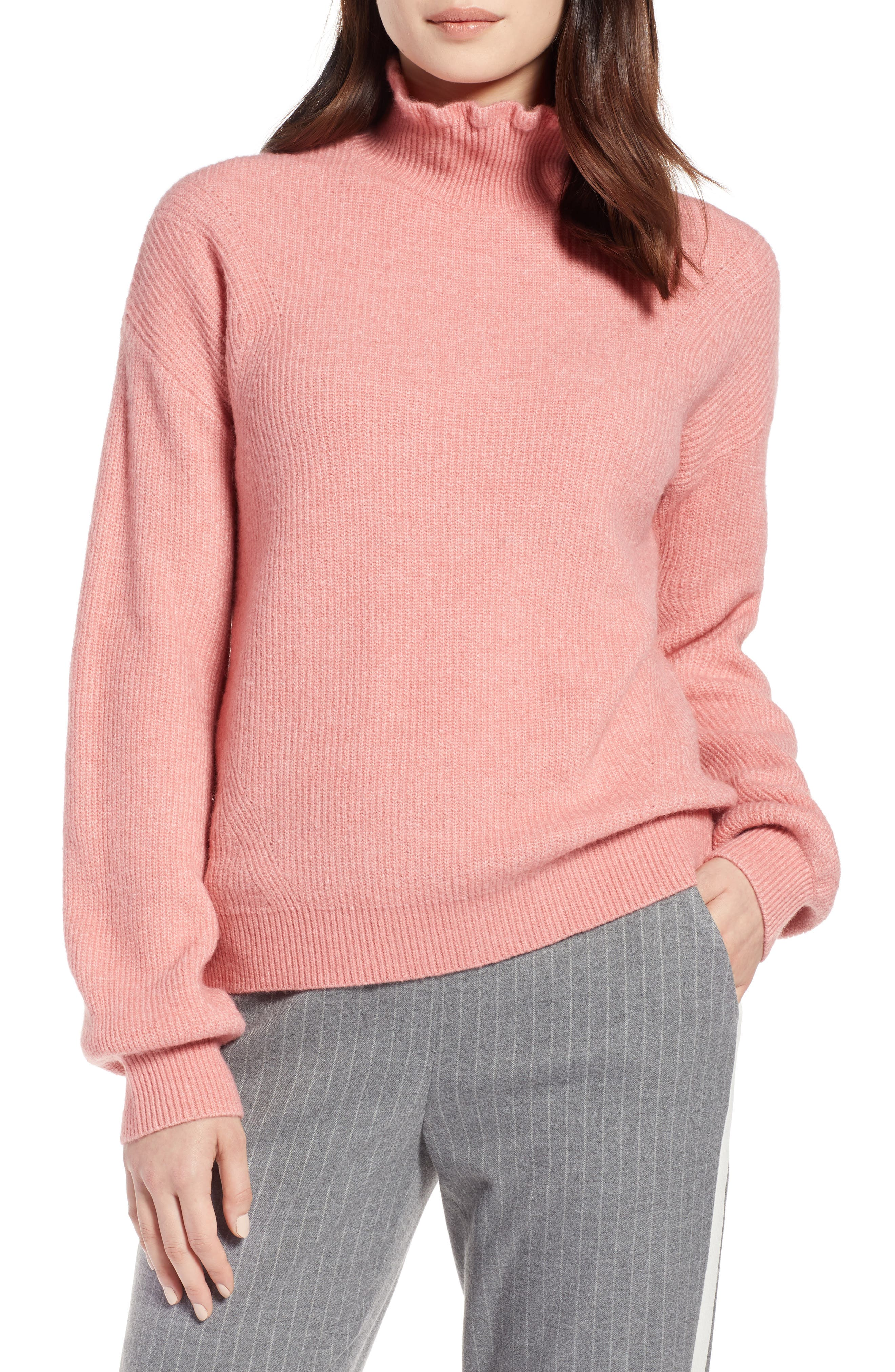 Ruffle Neck Sweater,                         Main,                         color, PINK APRICOT