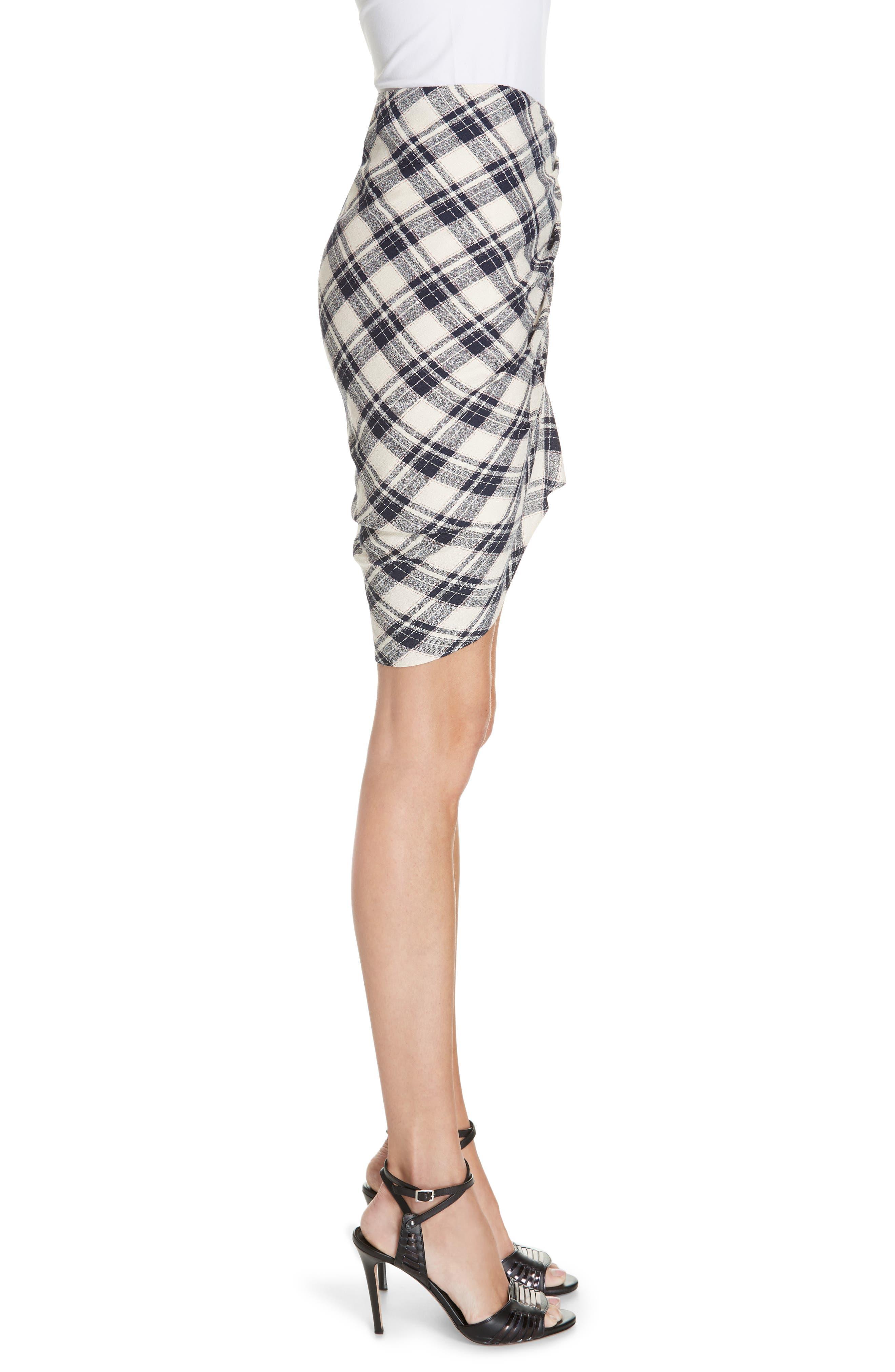 Murphy Ruched Miniskirt,                             Alternate thumbnail 3, color,                             NAVY/ ECRU