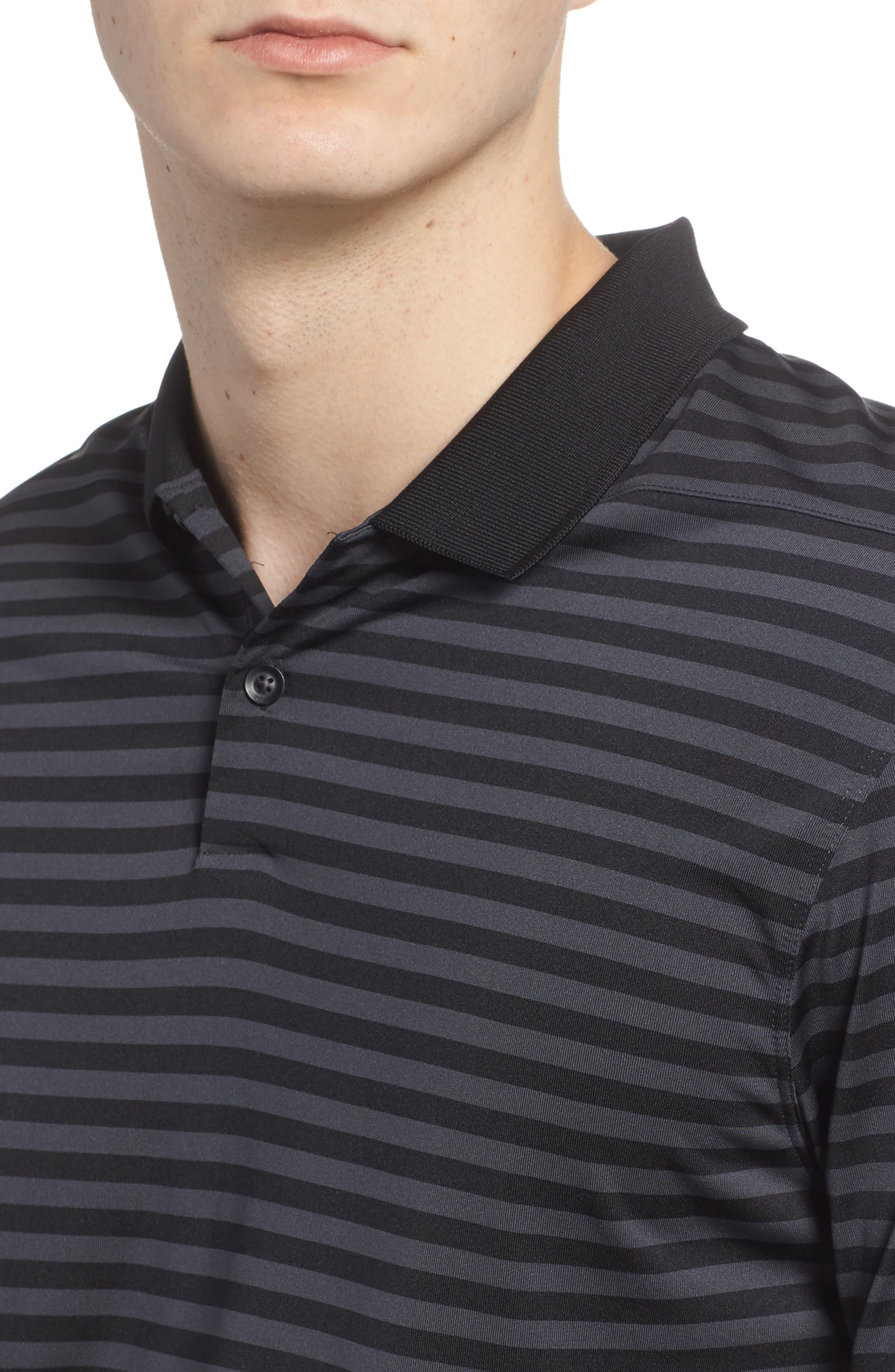NIKE,                             Dry Victory Stripe Golf Polo,                             Alternate thumbnail 4, color,                             010