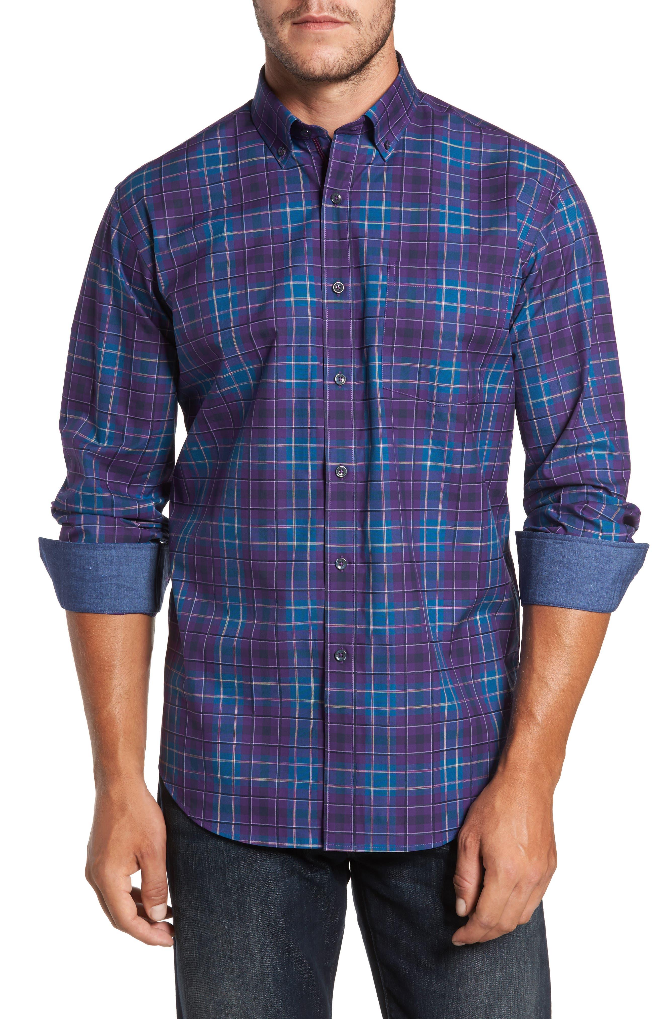 Classic Fit Plaid Sport Shirt,                         Main,                         color, 513