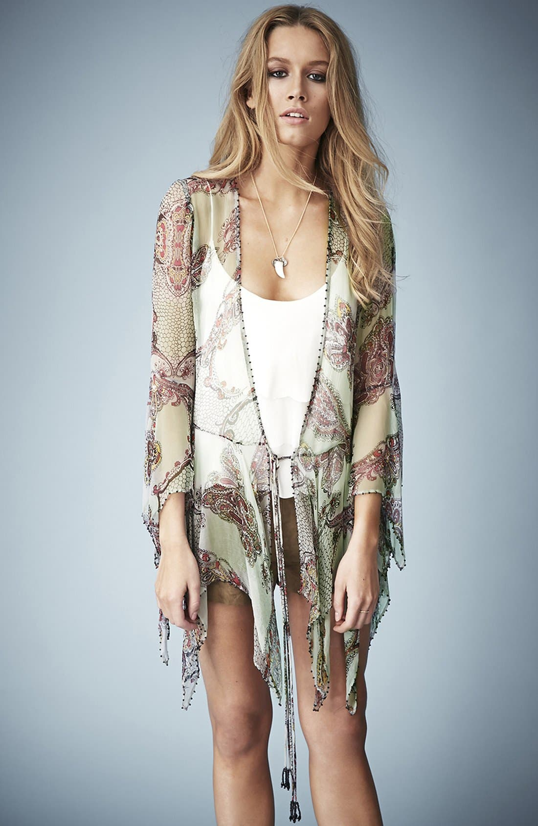 Kate Moss for Topshop Draped Paisley Tie Blouse,                         Main,                         color,