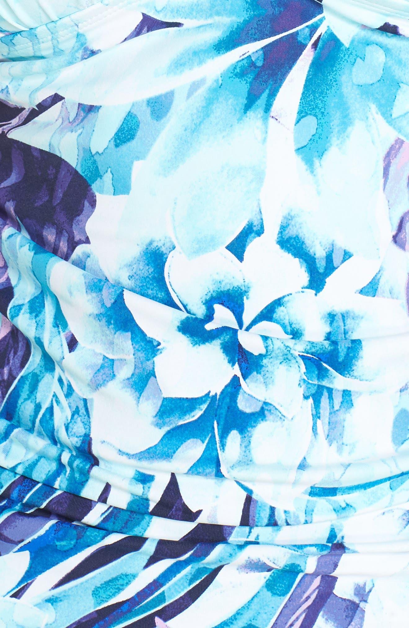 Aqua Petals Tankini Top,                             Alternate thumbnail 5, color,                             WHITE
