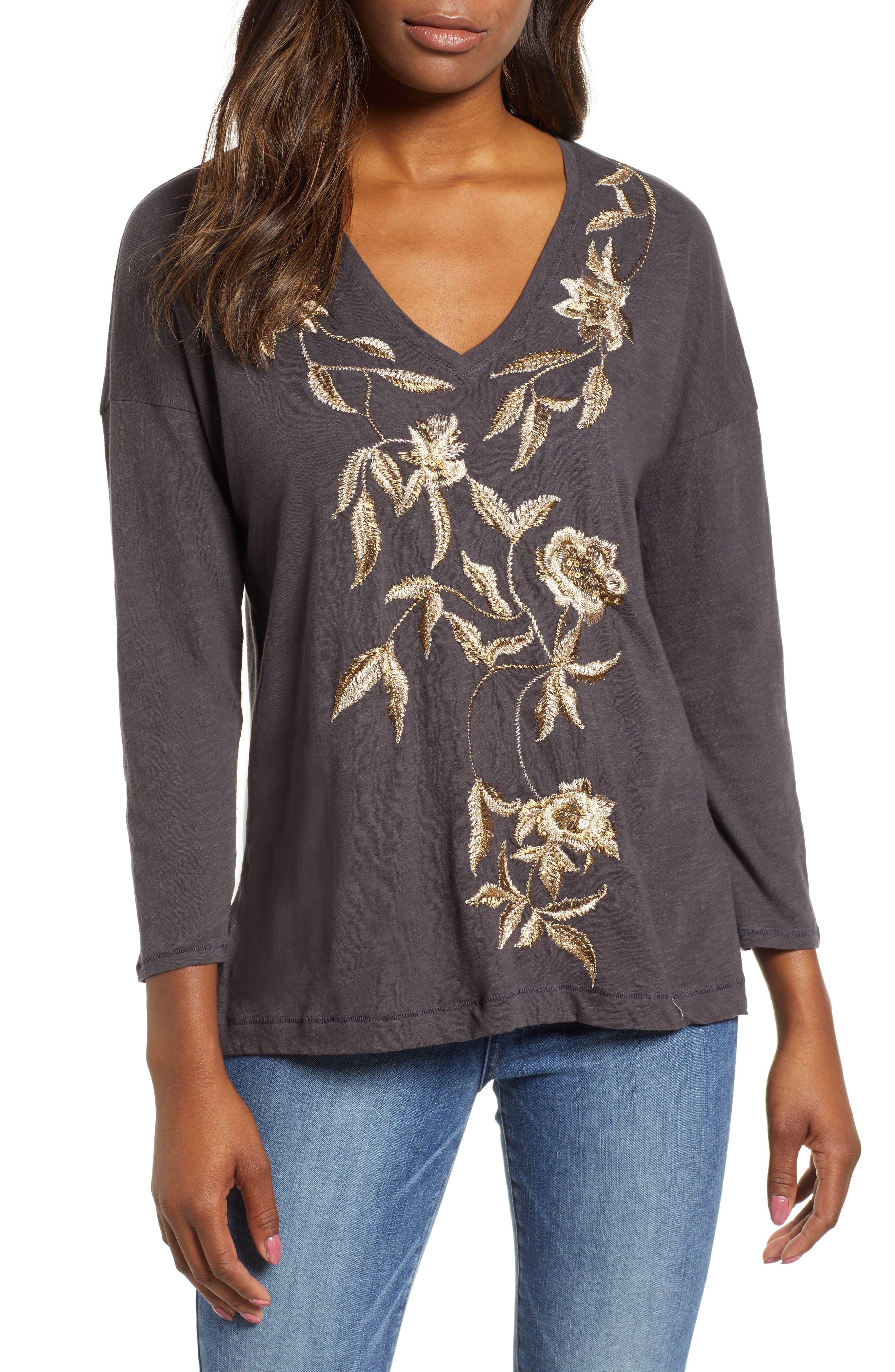 women's lucky brand metallic embroidered v-neck tee