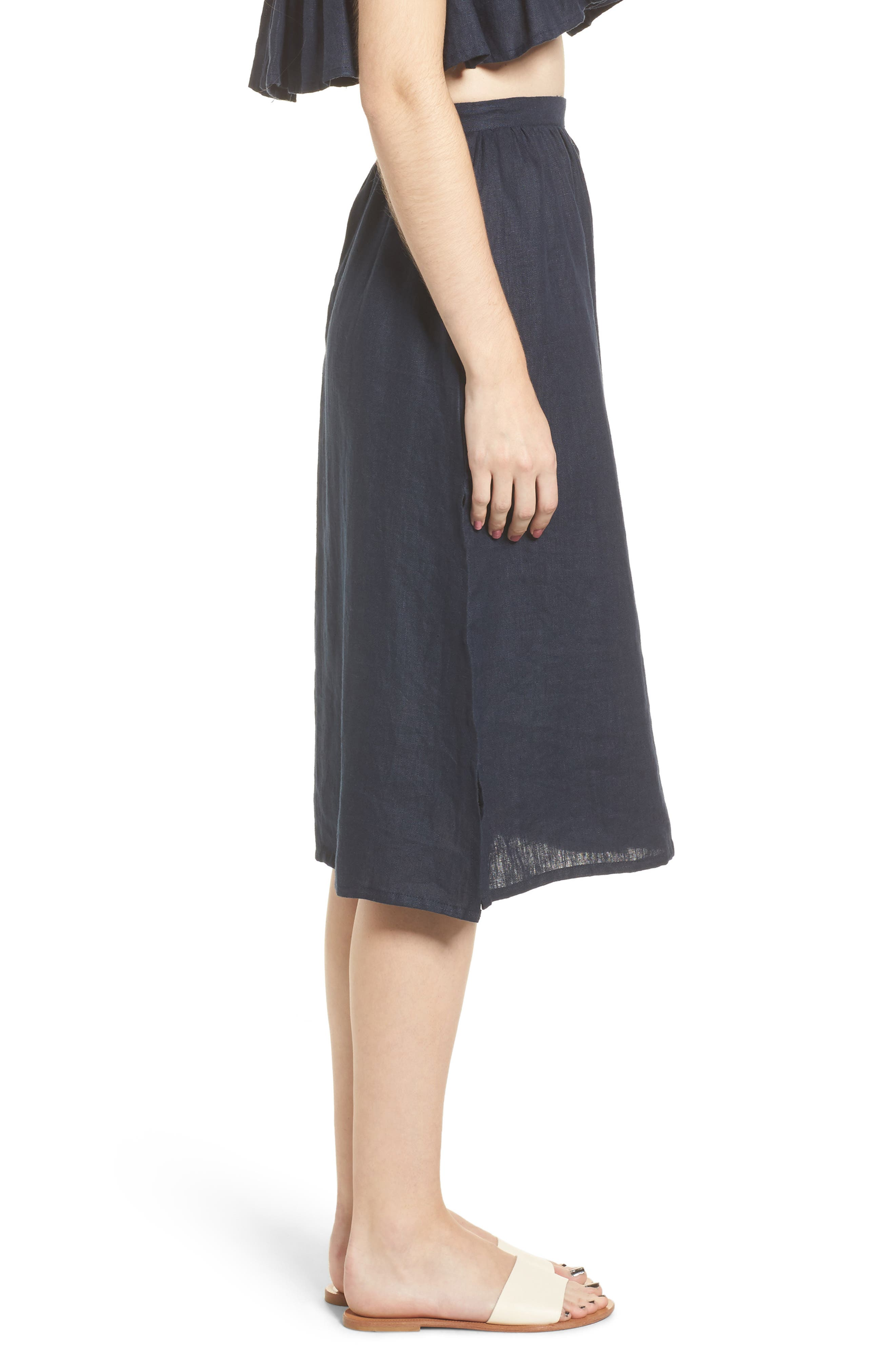 Seine Linen Midi Skirt,                             Alternate thumbnail 3, color,                             400