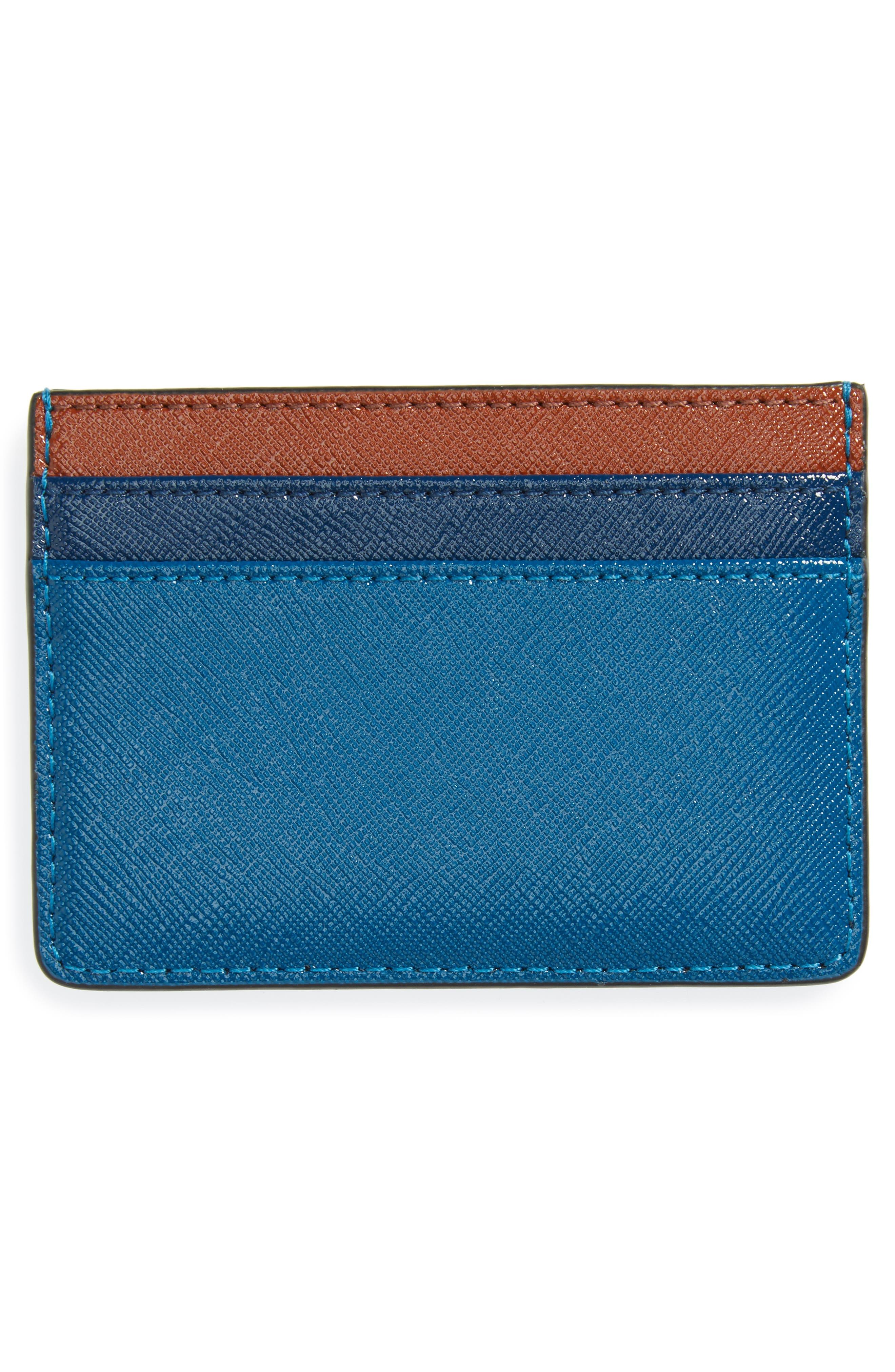 Color Block Saffiano Leather Card Case,                             Alternate thumbnail 8, color,