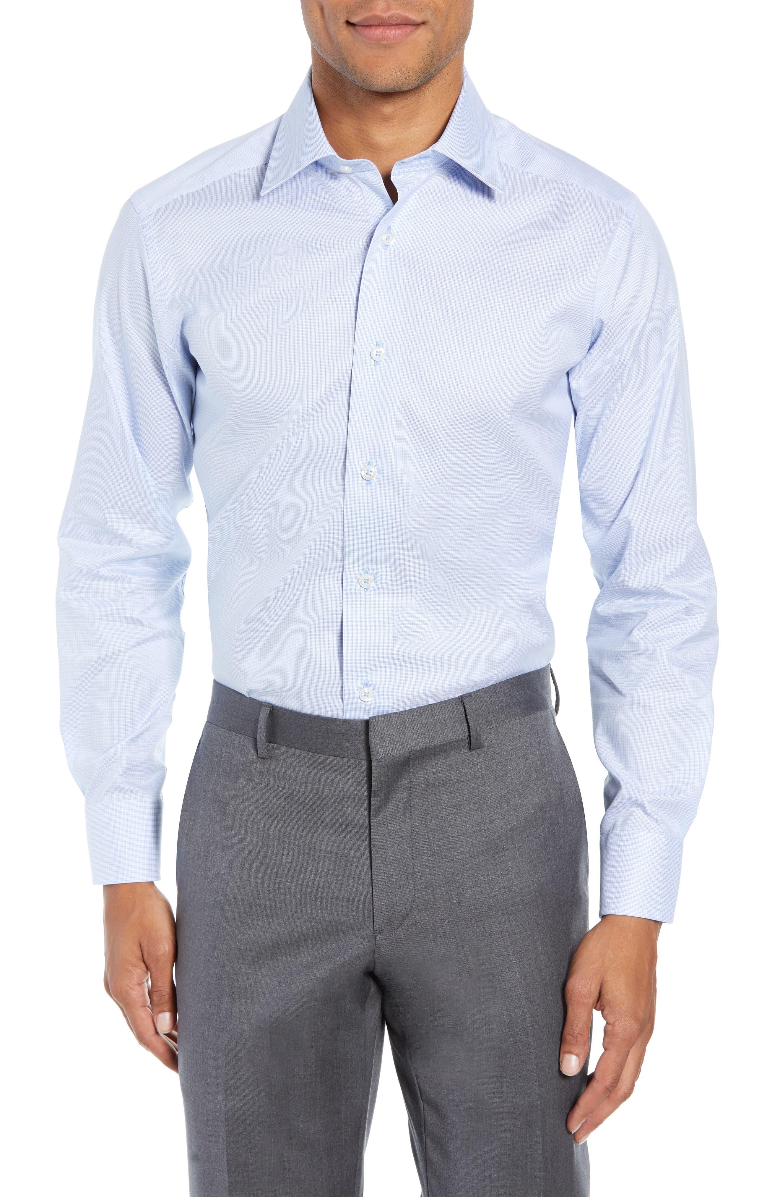 Slim Fit Micro Pattern Dress Shirt,                         Main,                         color, BLUE