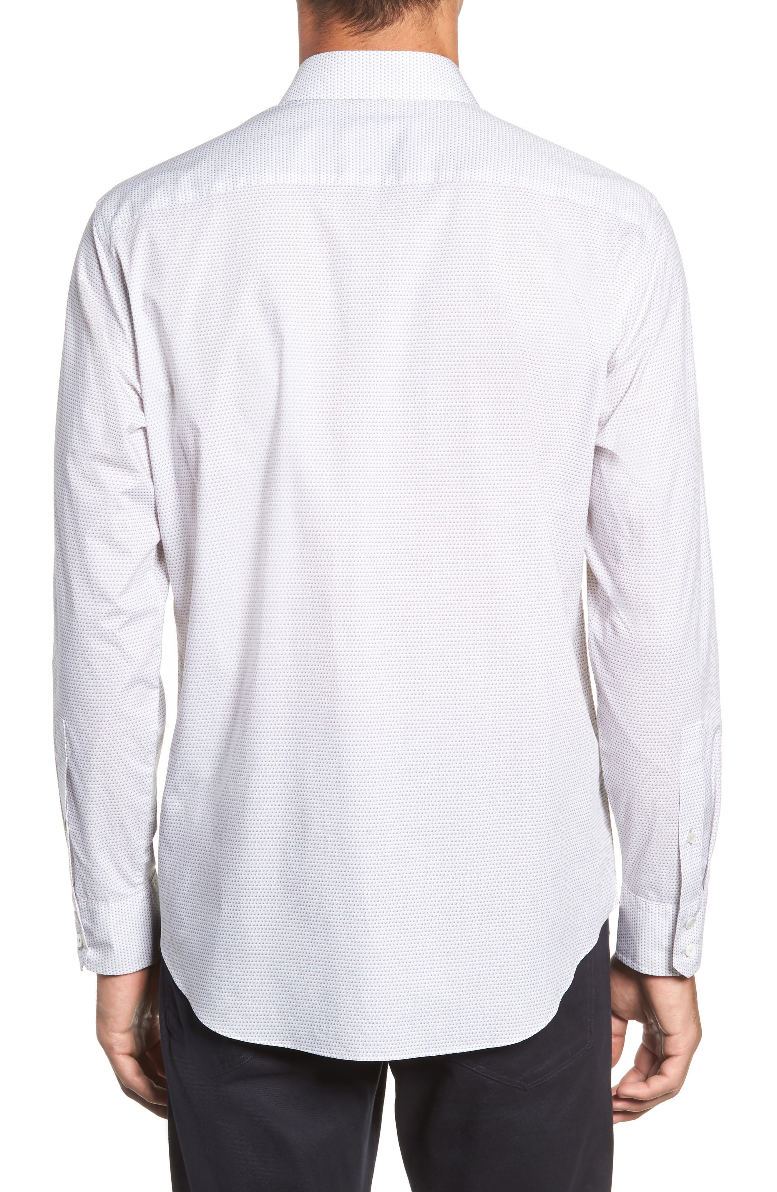 Toledo Regular Fit Microdot Sport Shirt,                             Alternate thumbnail 3, color,                             WHITE