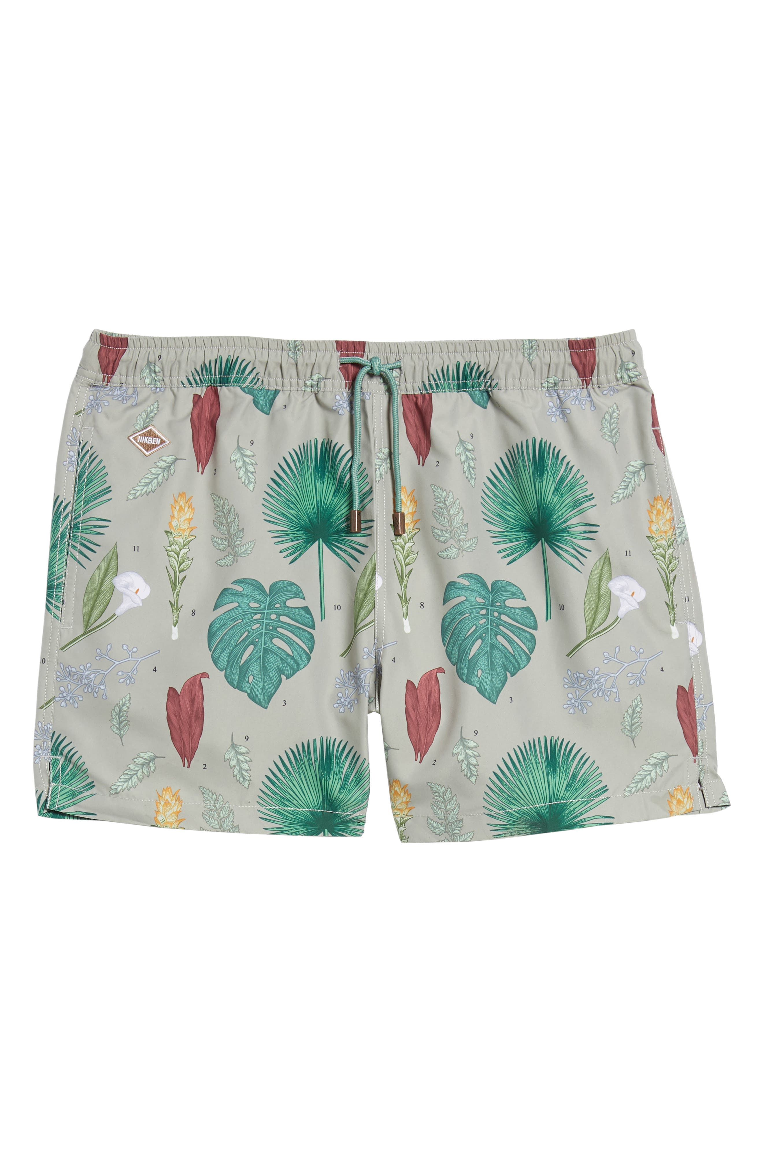 Flower Power Slim Fit Swim Trunks,                             Alternate thumbnail 6, color,                             300