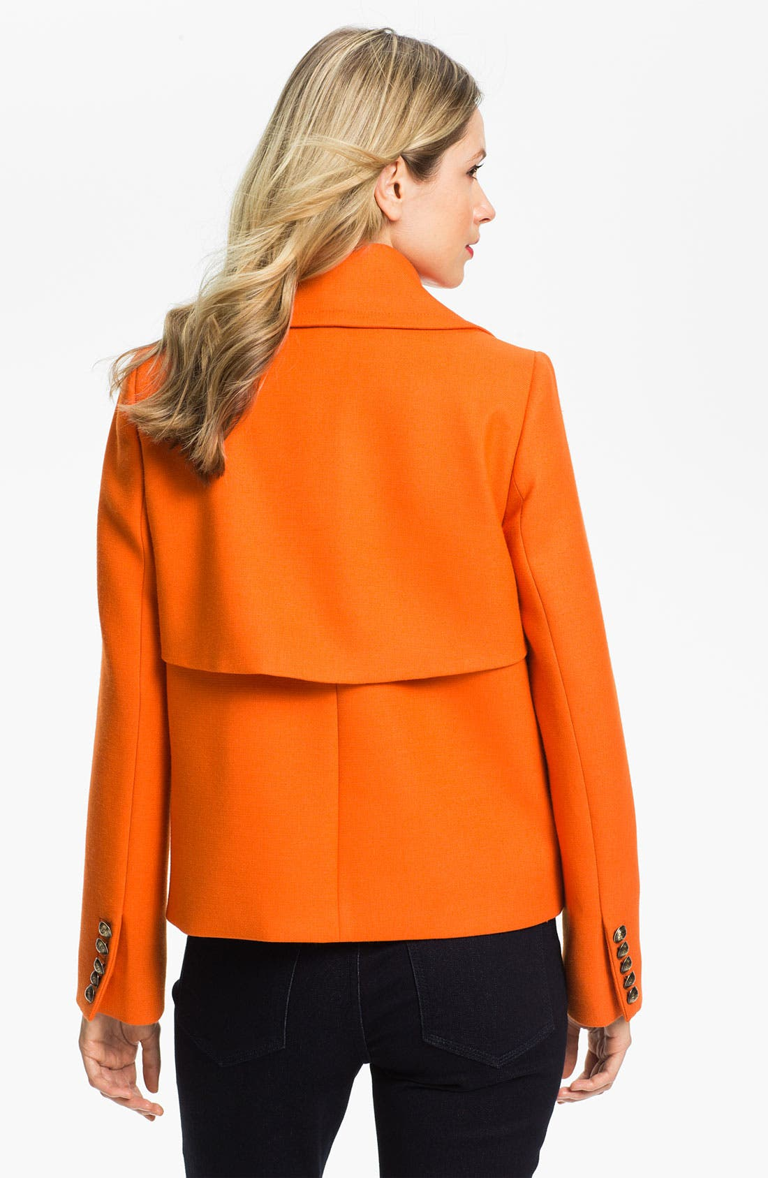 ANNE KLEIN,                             Double Breasted Peacoat,                             Alternate thumbnail 4, color,                             810