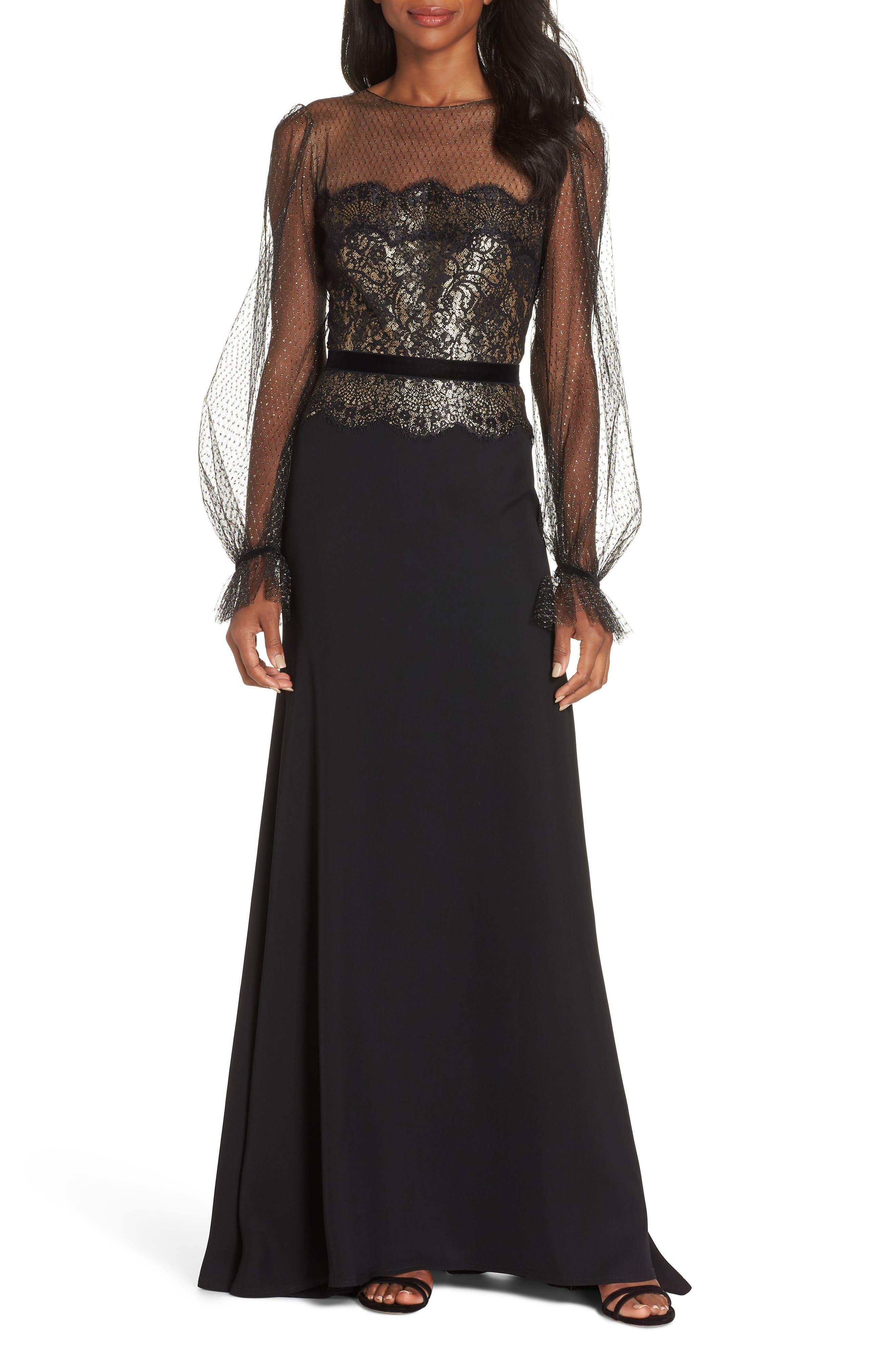 Crepe & Sequin Gown,                             Main thumbnail 1, color,                             BLACK/ GOLD