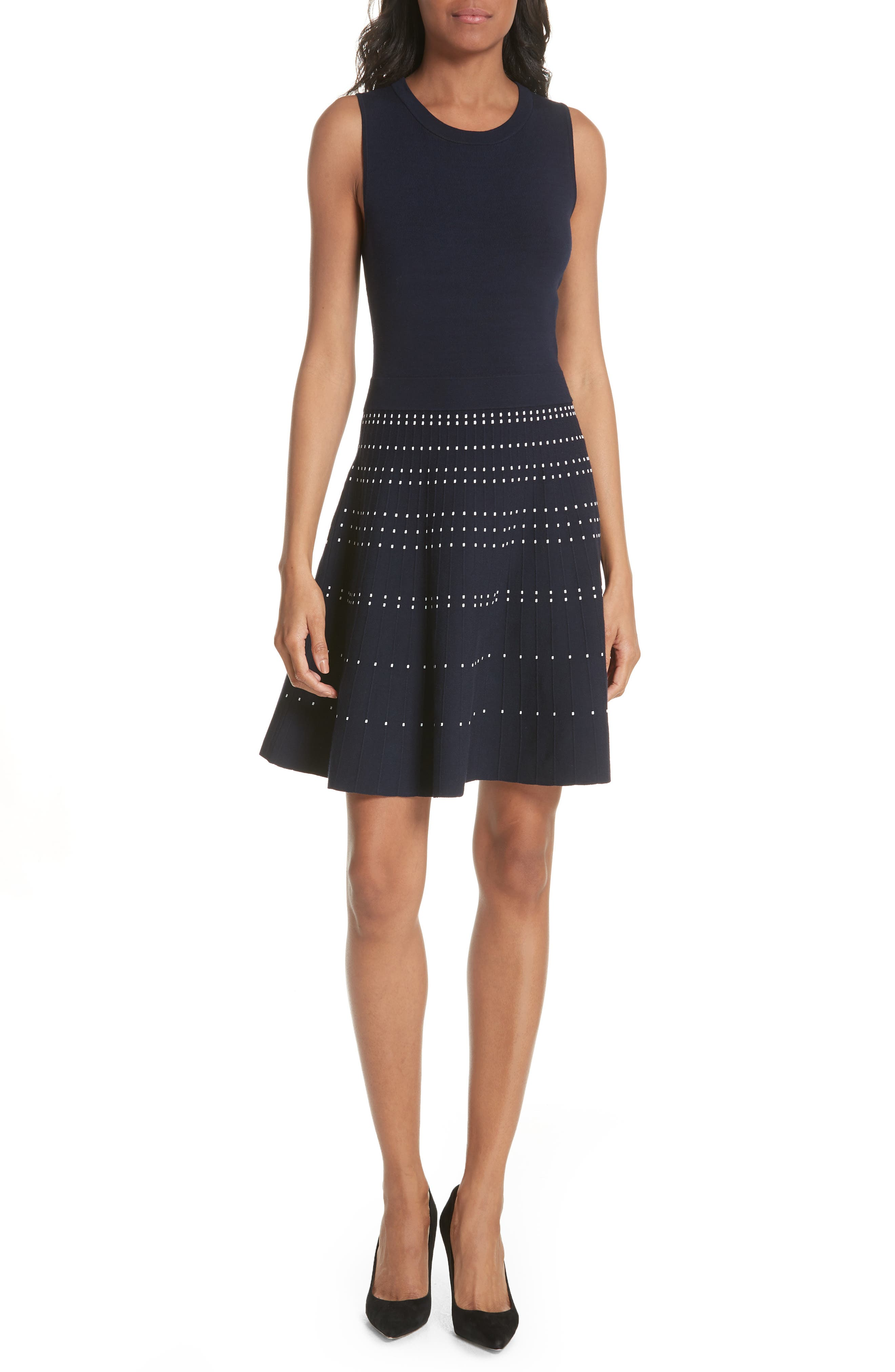 textured fit & flare sweater dress,                         Main,                         color,