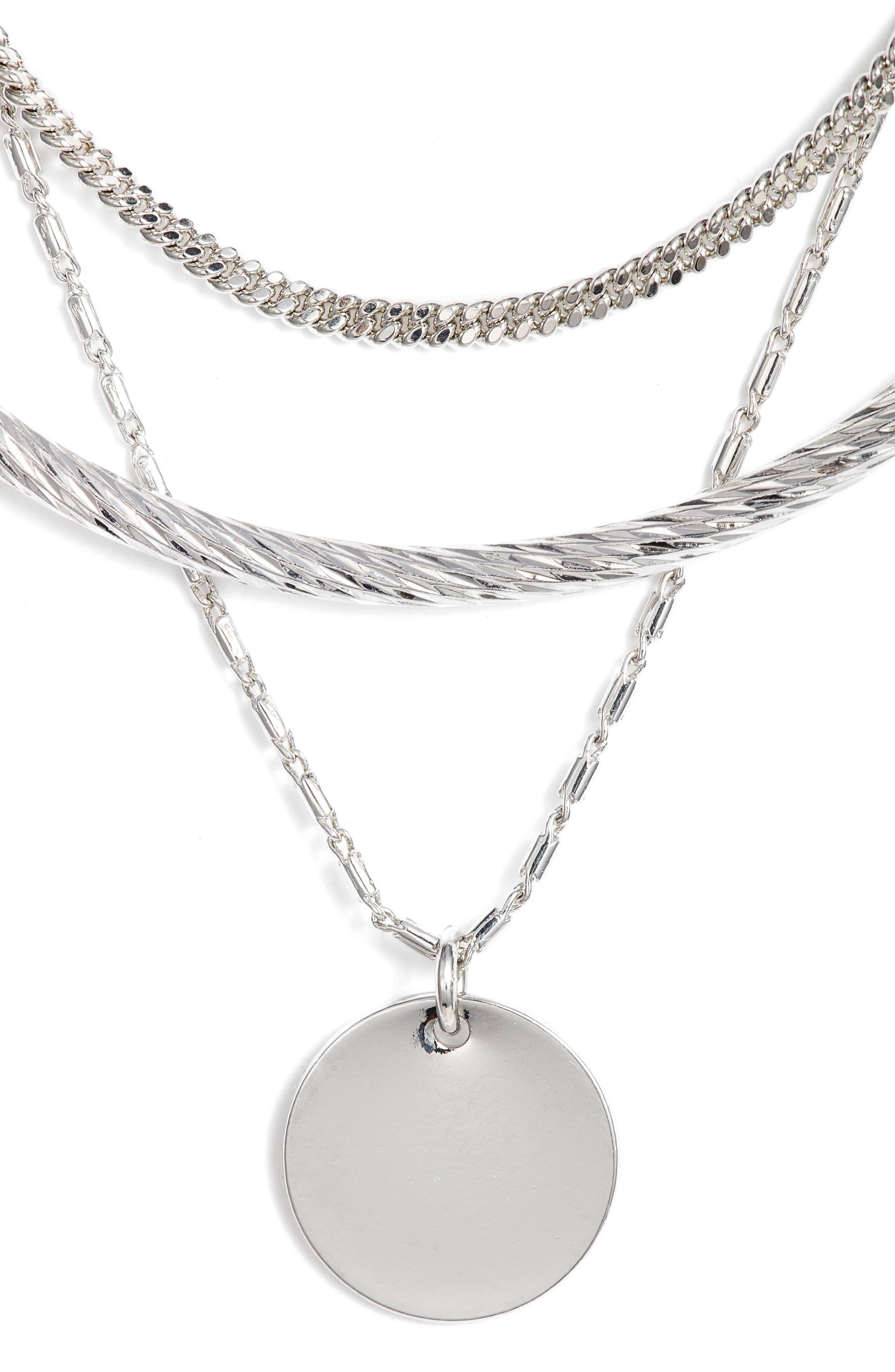 Short Disc Layer Pendant Necklace,                         Main,                         color, RHODIUM
