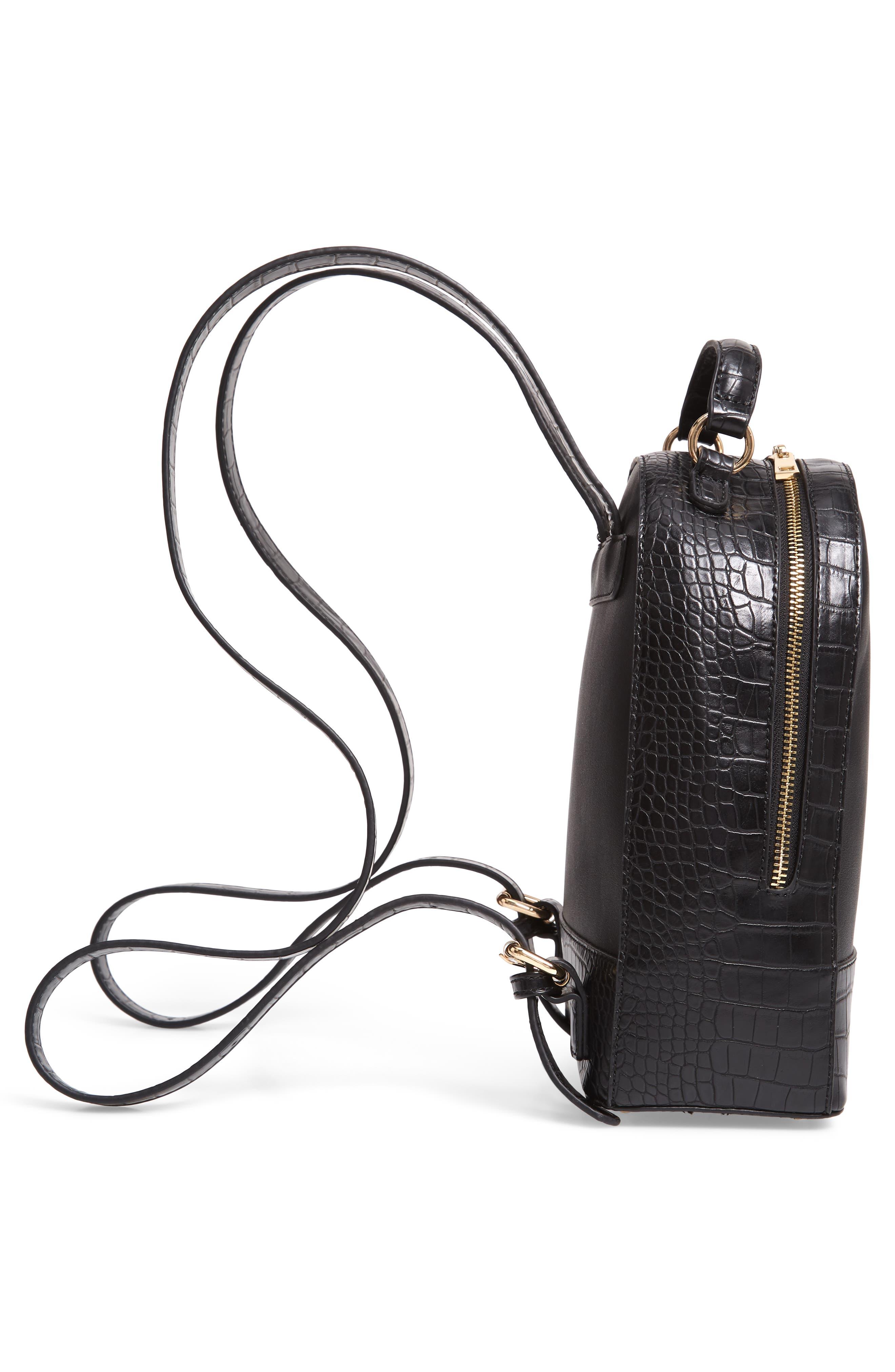 Jamya Croc Embossed Faux Leather Backpack,                             Alternate thumbnail 5, color,                             BLACK