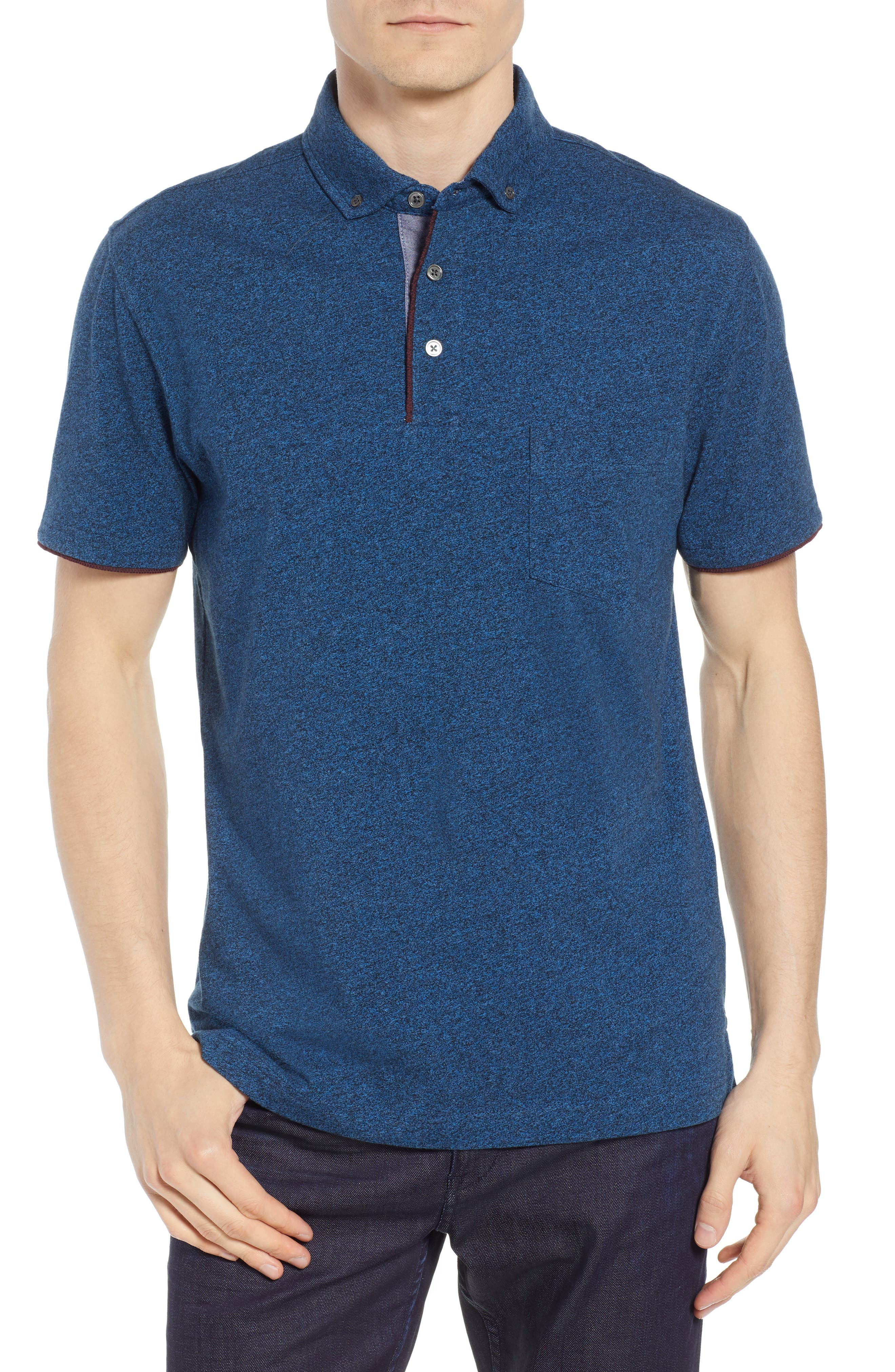 Haast Pass Button Down Polo,                         Main,                         color, NAVY