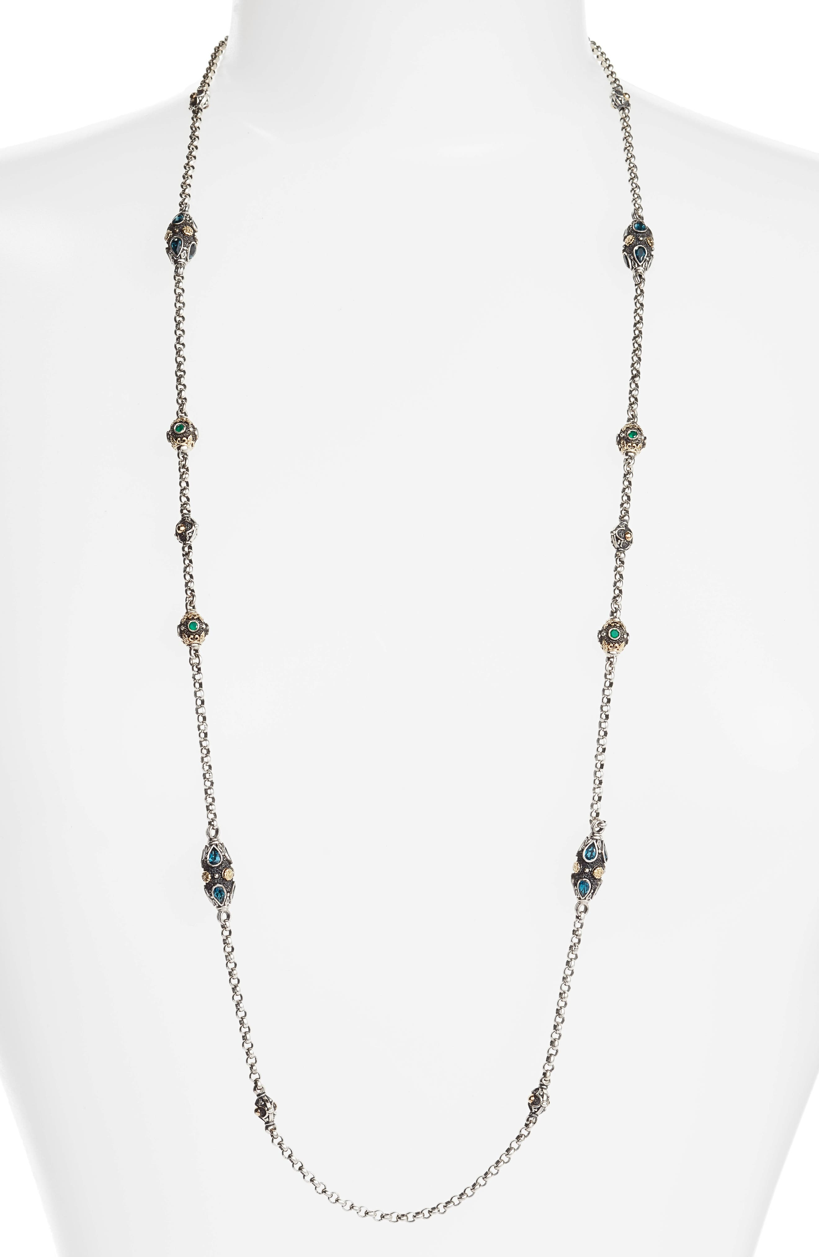 Nemesis Long Station Necklace,                         Main,                         color, JADE/ LONDON BLUE TOPAZ