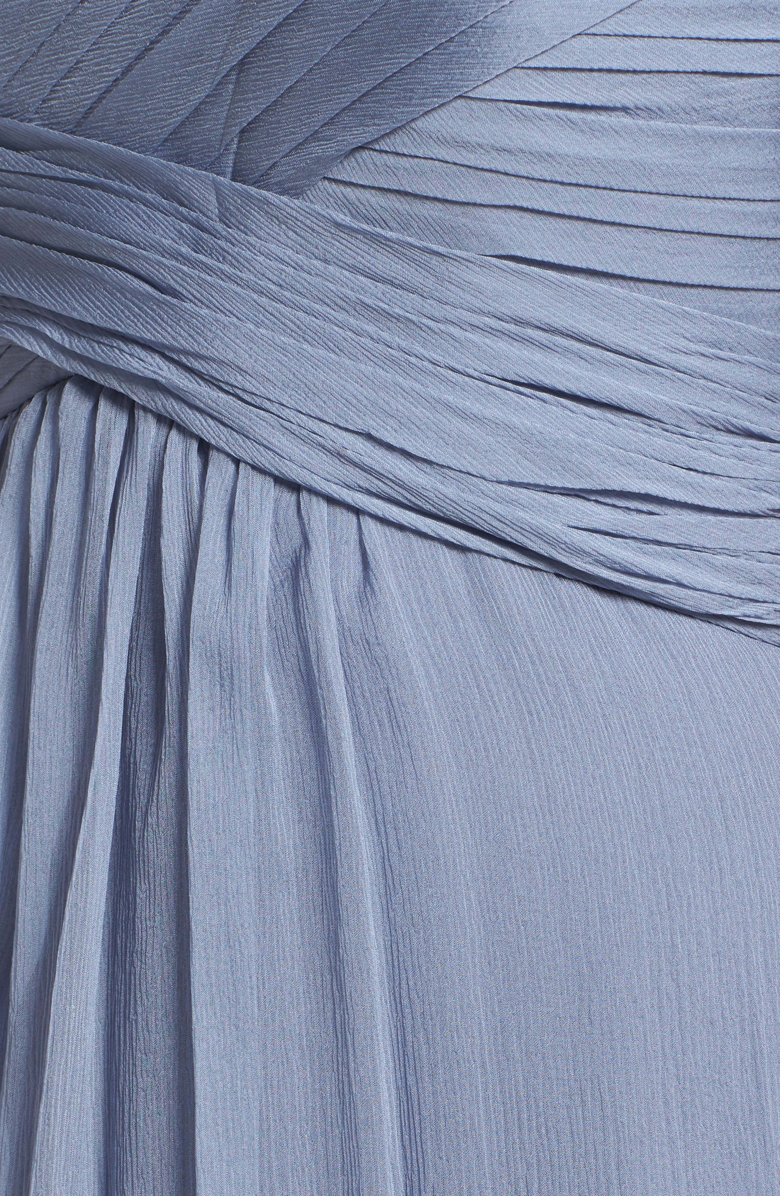 Convertible Crinkled Silk Chiffon Gown,                             Alternate thumbnail 5, color,                             022