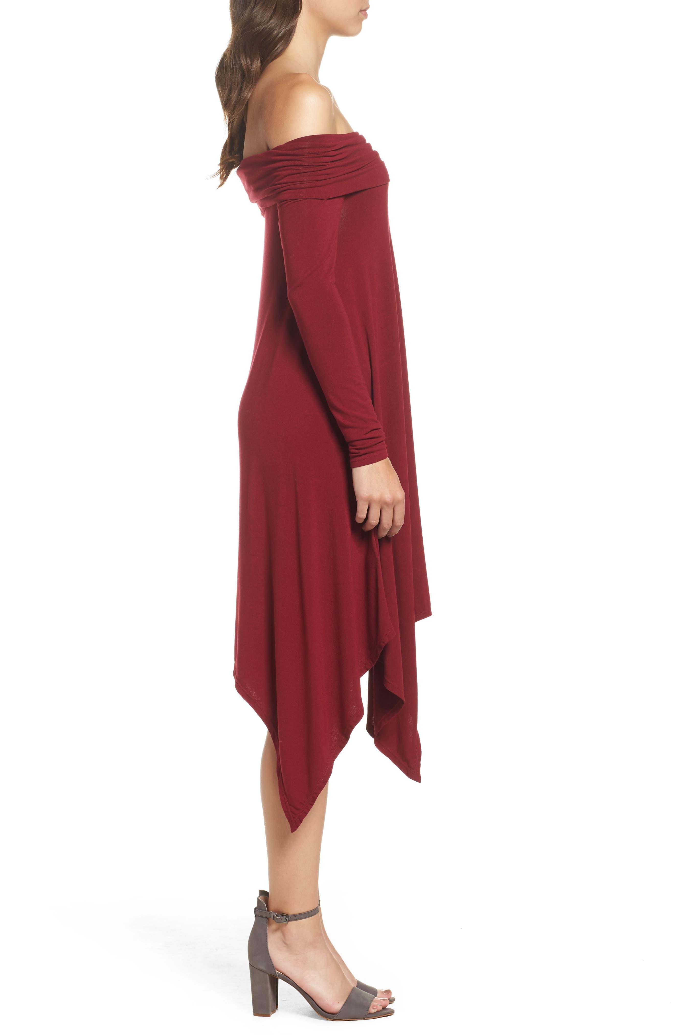 Off the Shoulder Knit A-Line Dress,                             Alternate thumbnail 3, color,                             600