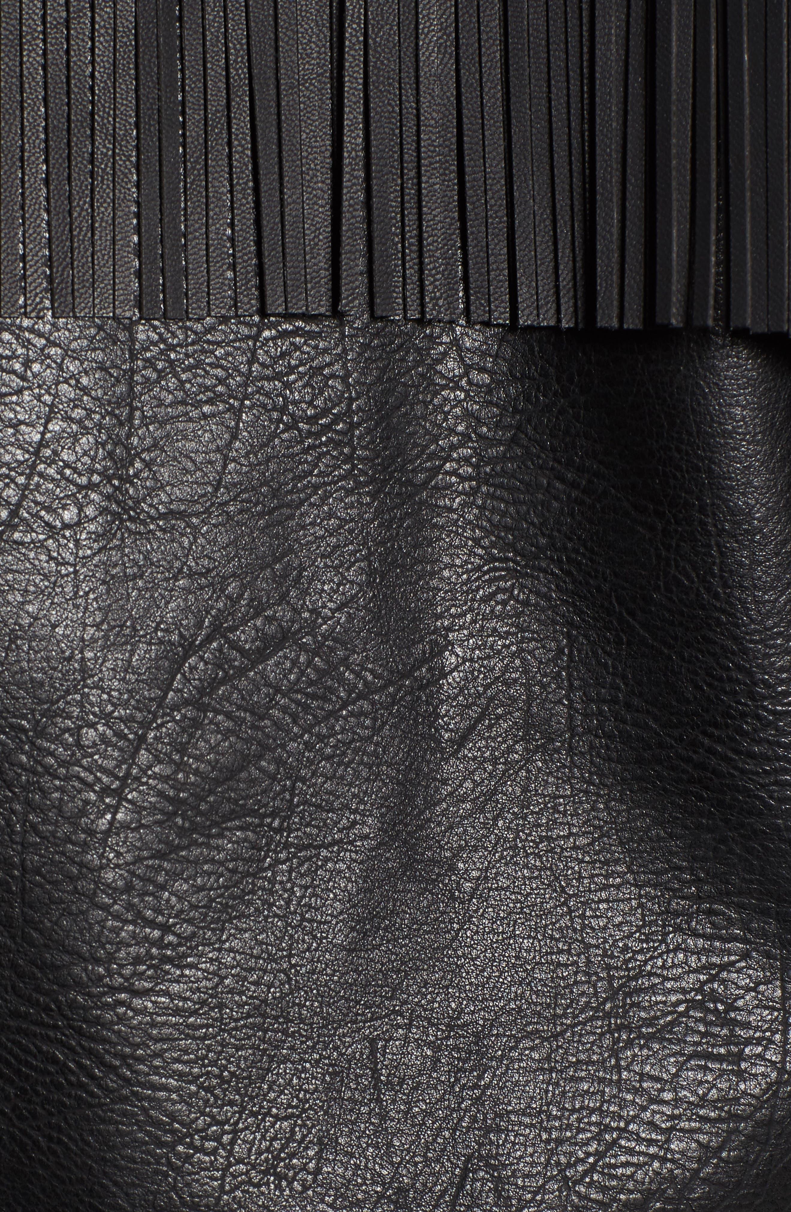 Studded Fringe Faux Leather Moto Jacket,                             Alternate thumbnail 6, color,                             001