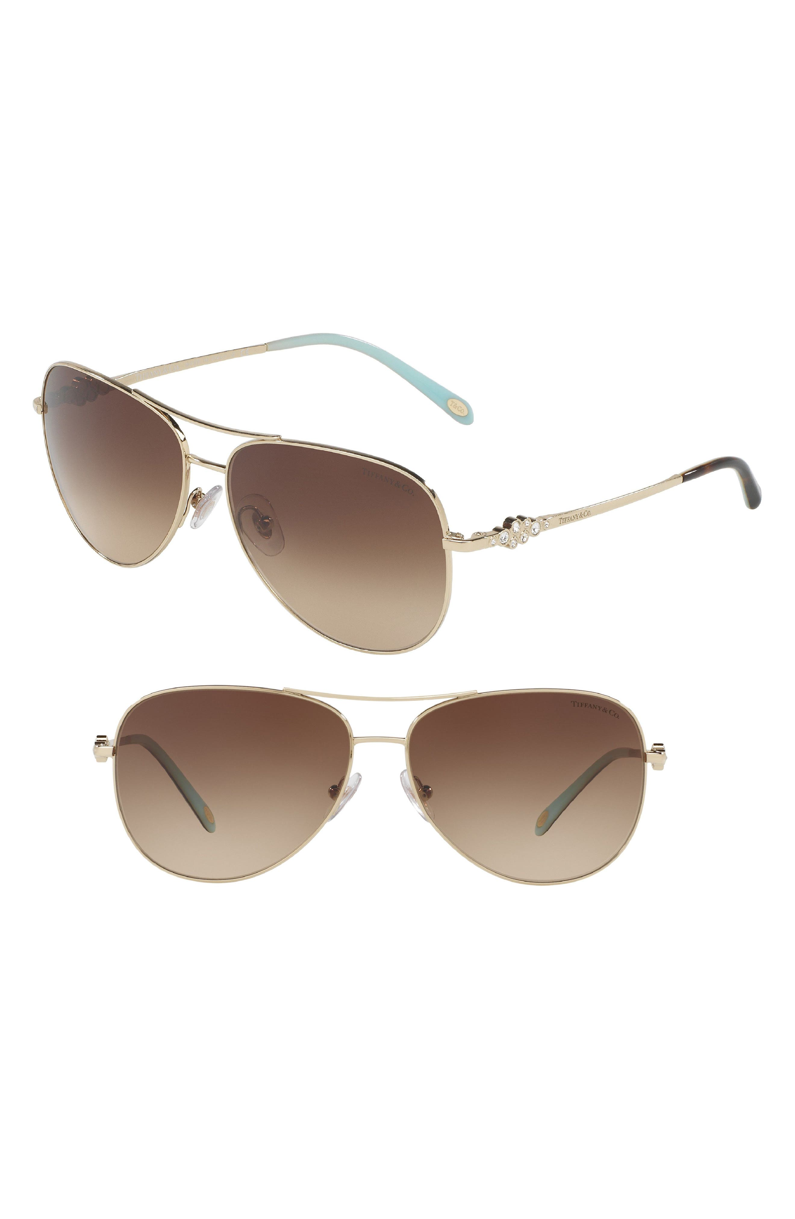 Tiffany 59mm Metal Aviator Sunglasses,                             Main thumbnail 1, color,                             PALE GOLD GRADIENT