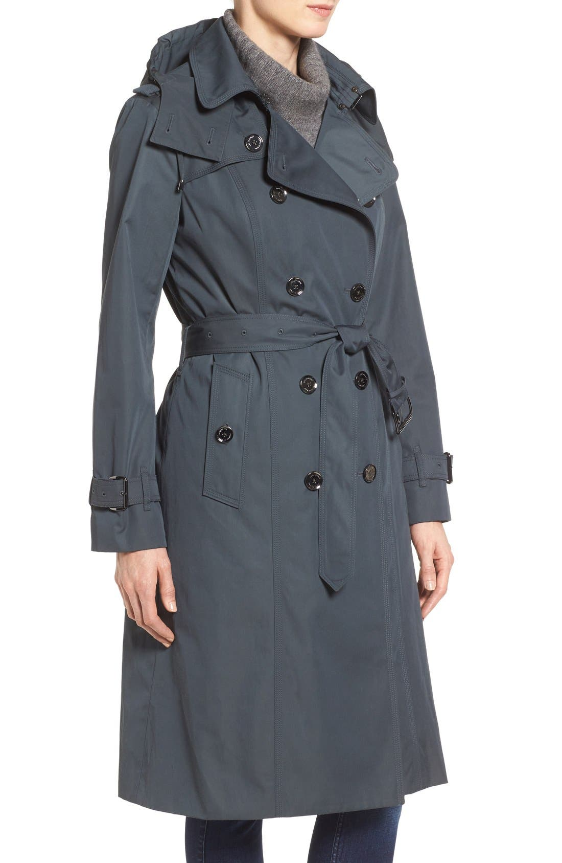 Double Breasted Trench Coat,                             Alternate thumbnail 3, color,                             SLATE